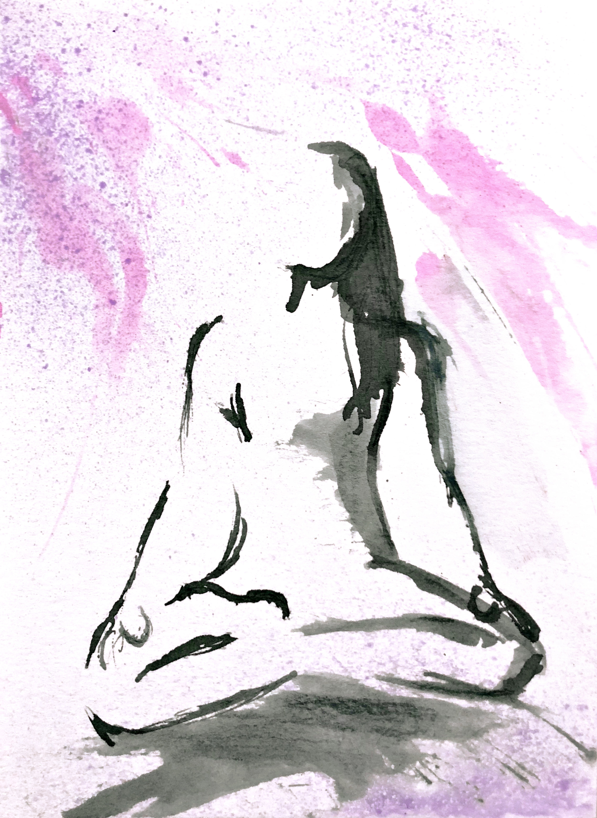 Watercolor on paper, painted with palette knives, yoga pose lotus pose or padmasana.