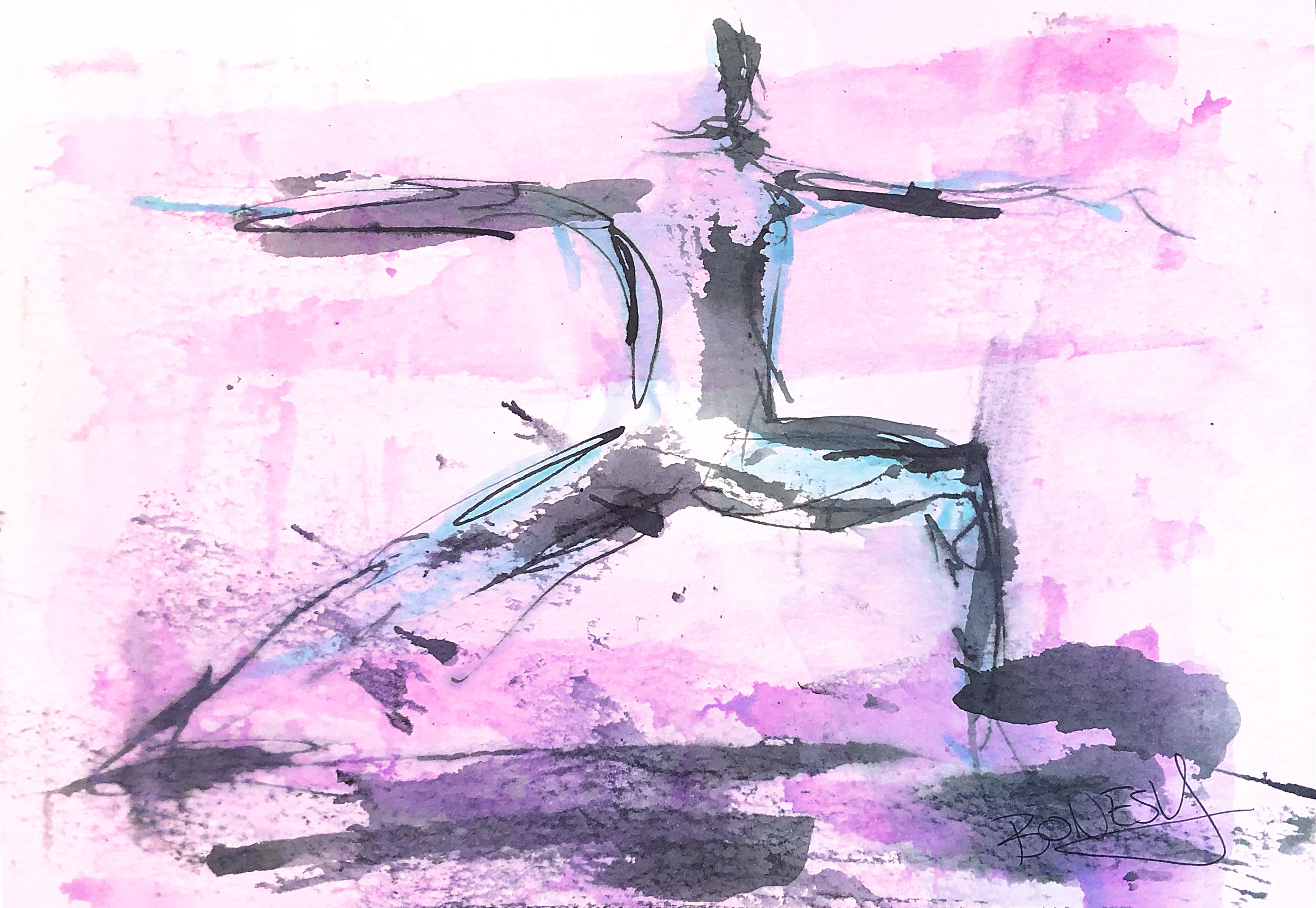 Watercolor on paper, painted with palette knives, yoga pose warrior 2 or virabhadrasana 2.