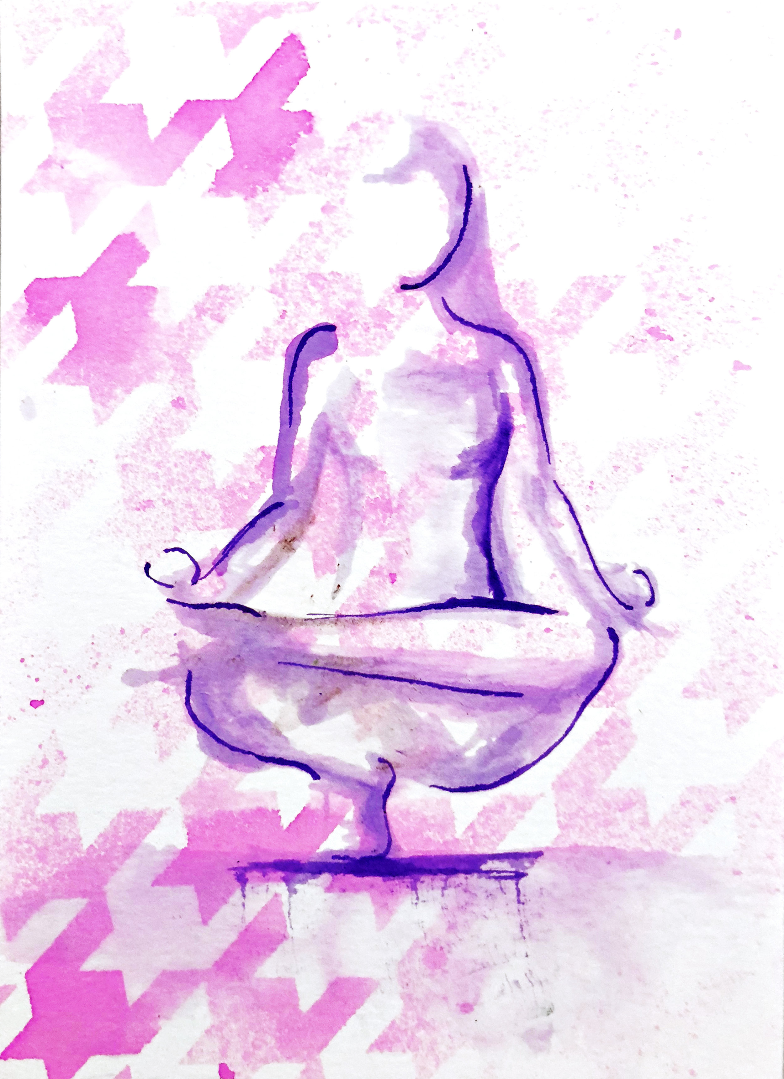 Watercolor on paper, painted with palette knives, yoga pose tip toe pose.