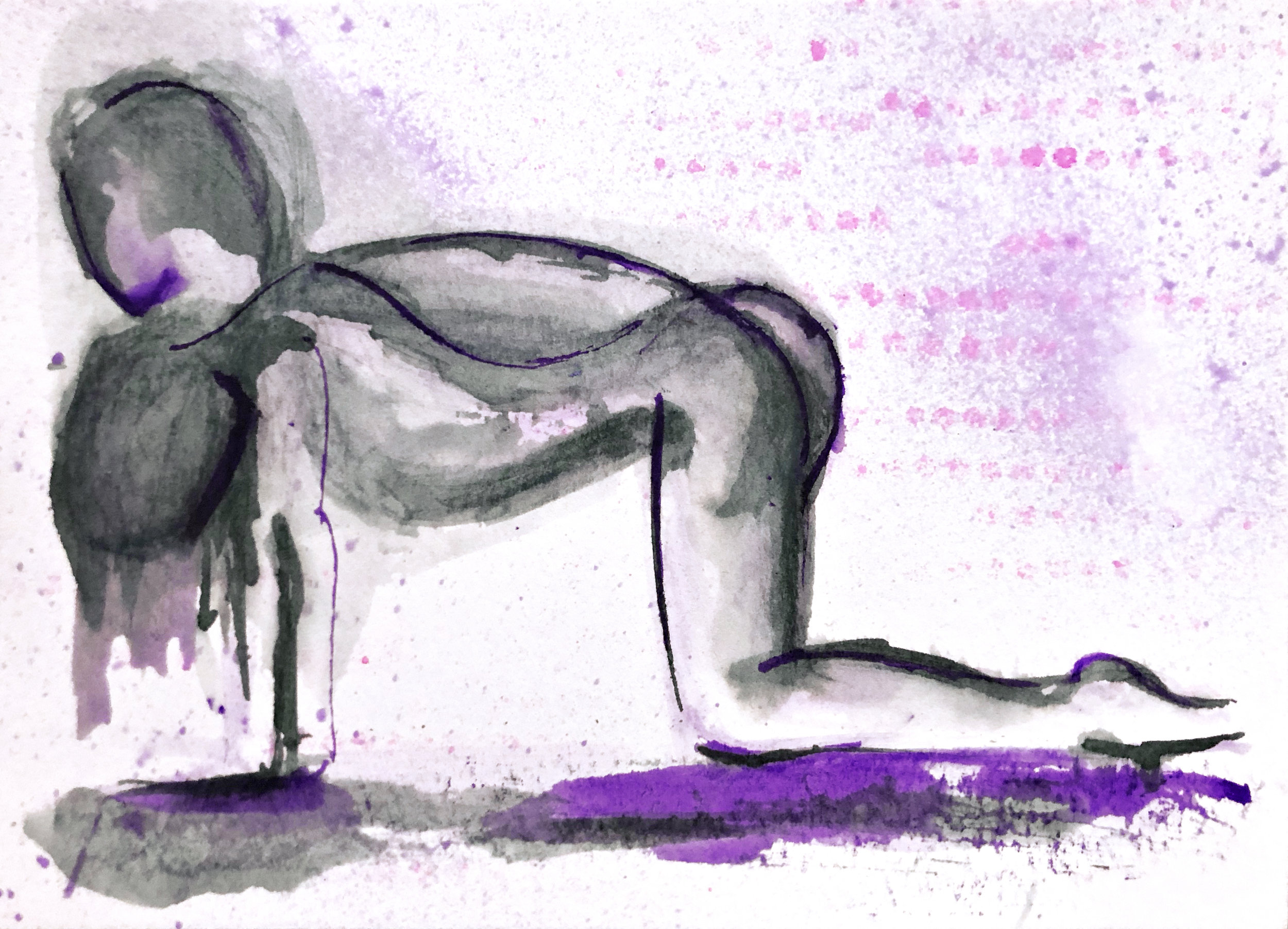 Watercolor on paper, painted with palette knives, yoga pose bitilasana or cat/cow pose.