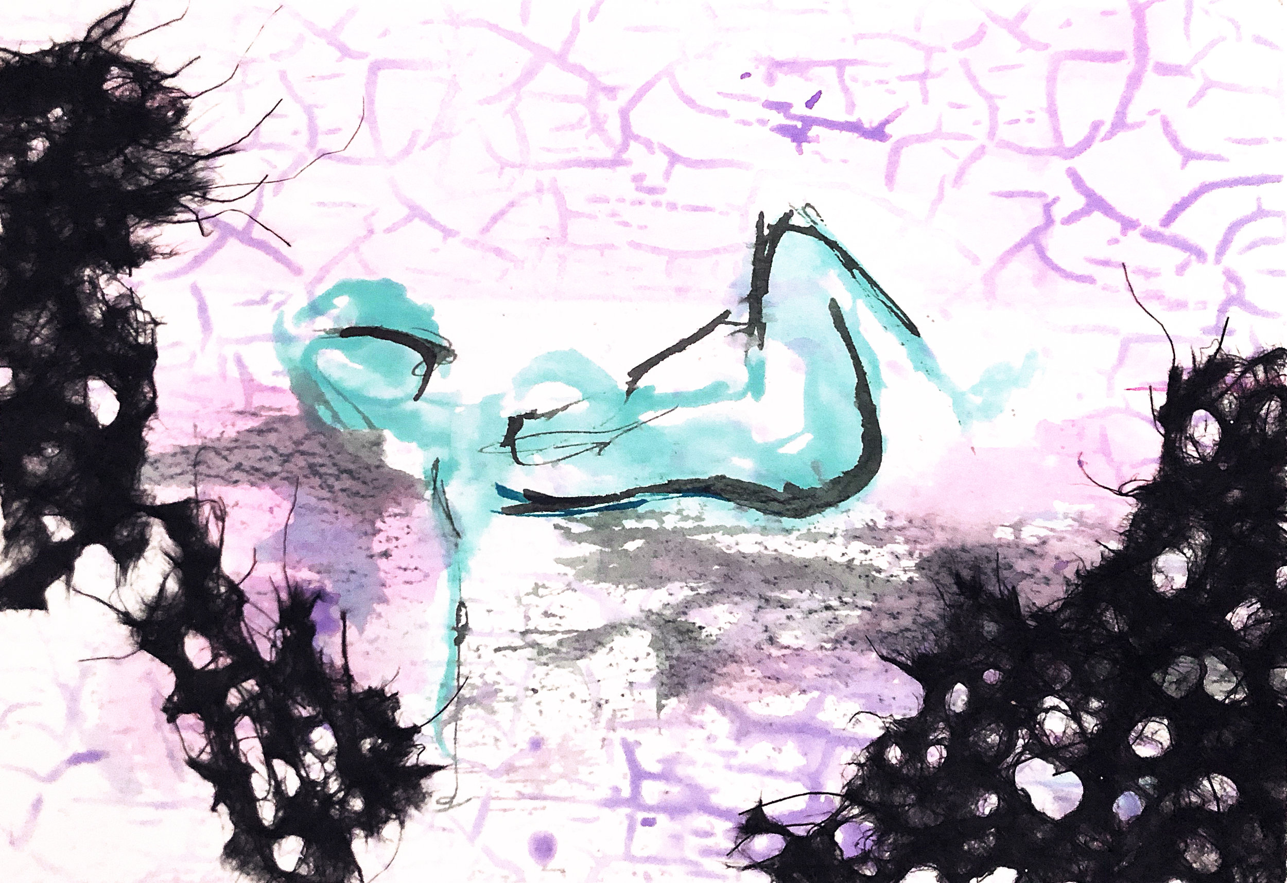 Watercolor on paper, painted with palette knives, yoga pose supine twist.