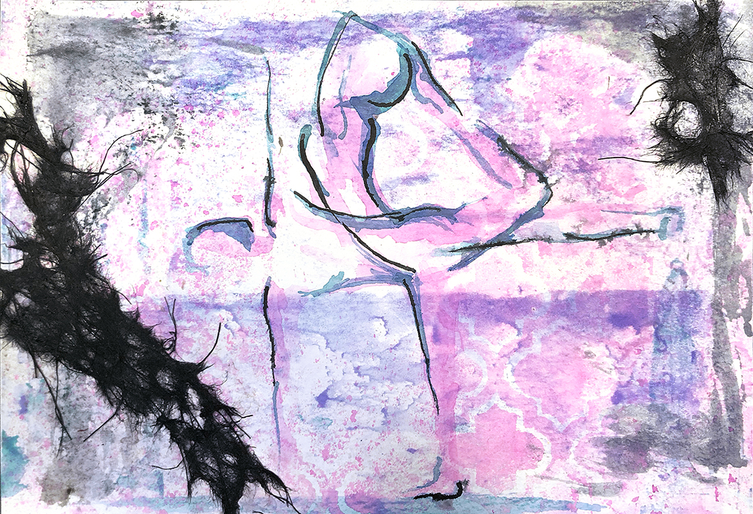 Watercolor on paper, painted with palette knives, yoga pose dancer's pose or natarajasana and half moon pose or ardha chandrasana.