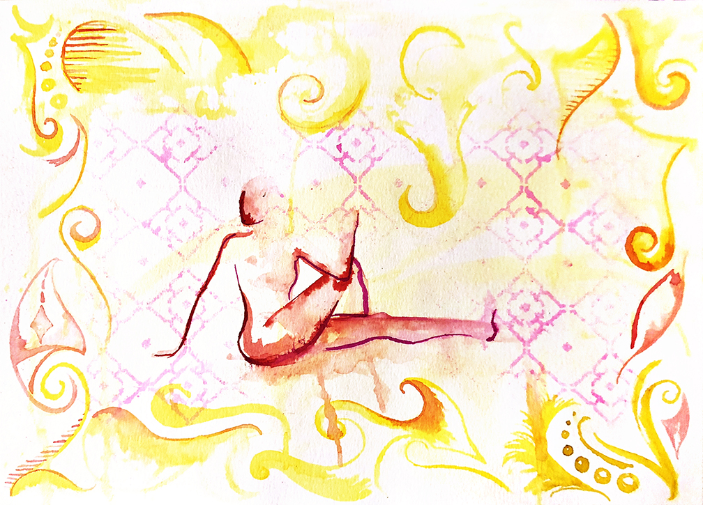 Watercolor on paper, painted with palette knives, yoga pose is a seated spinal twist.