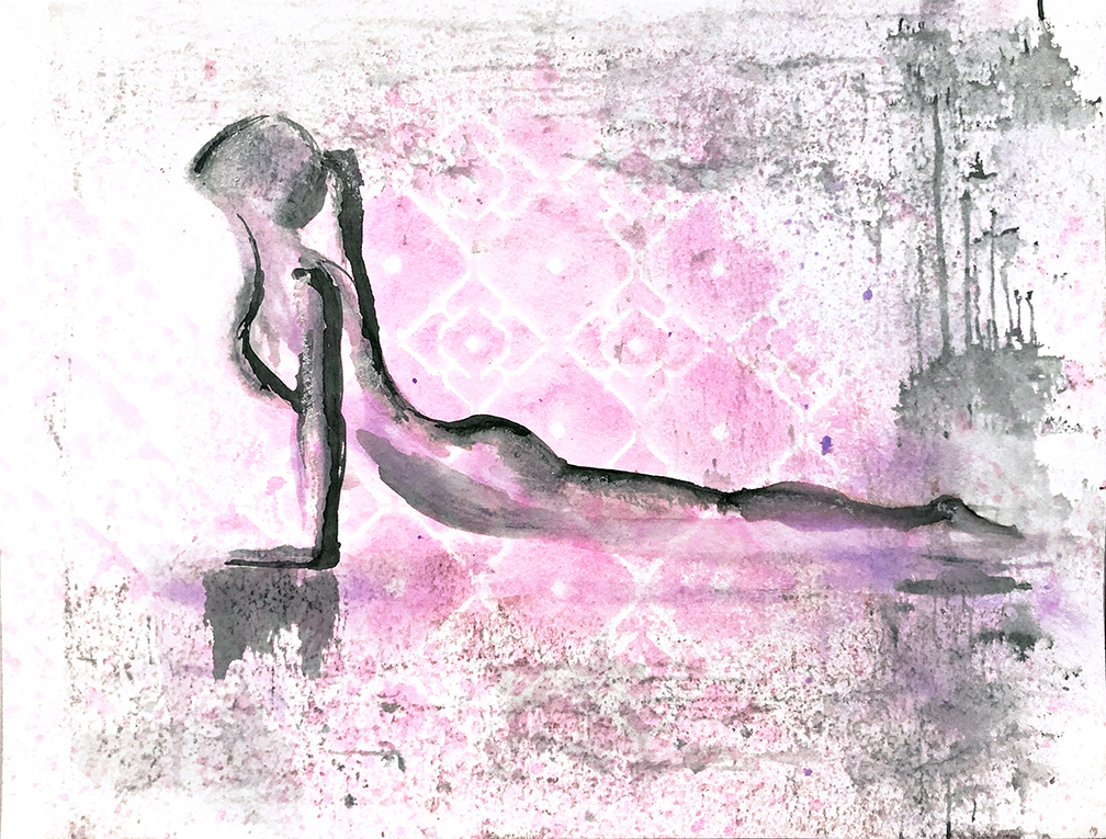 Watercolor on paper, painted with palette knives, yoga pose upward facing dog or Urdhva Mukha Svanasana.
