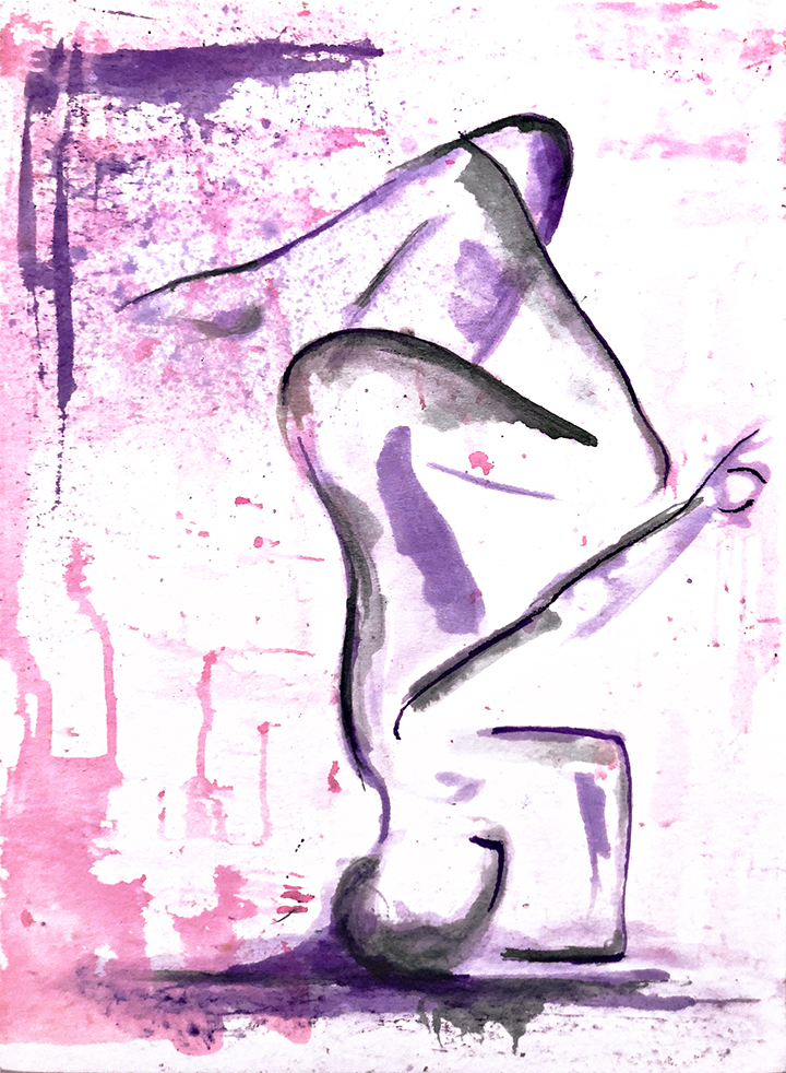 Watercolor on paper, painted with palette knives, yoga pose tripod headstand or mukta hasta sirsasana.