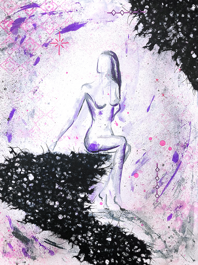 Watercolor on paper, painted with palette knives, mixed media, figure of a woman.