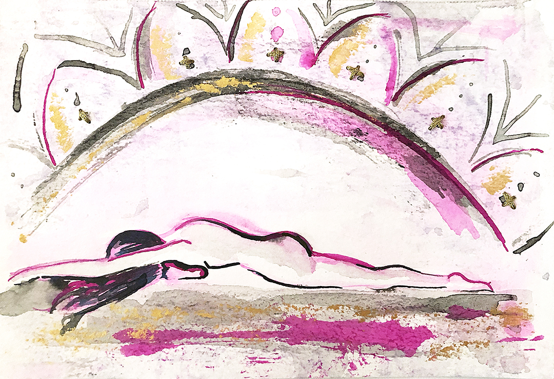Watercolor on paper, painted with palette knives, yoga pose pigeon pose or eka pada rajakapotasana.