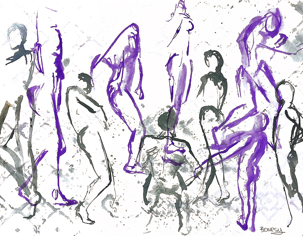 Watercolor on paper, painted with palette knives, gesture figure poses.