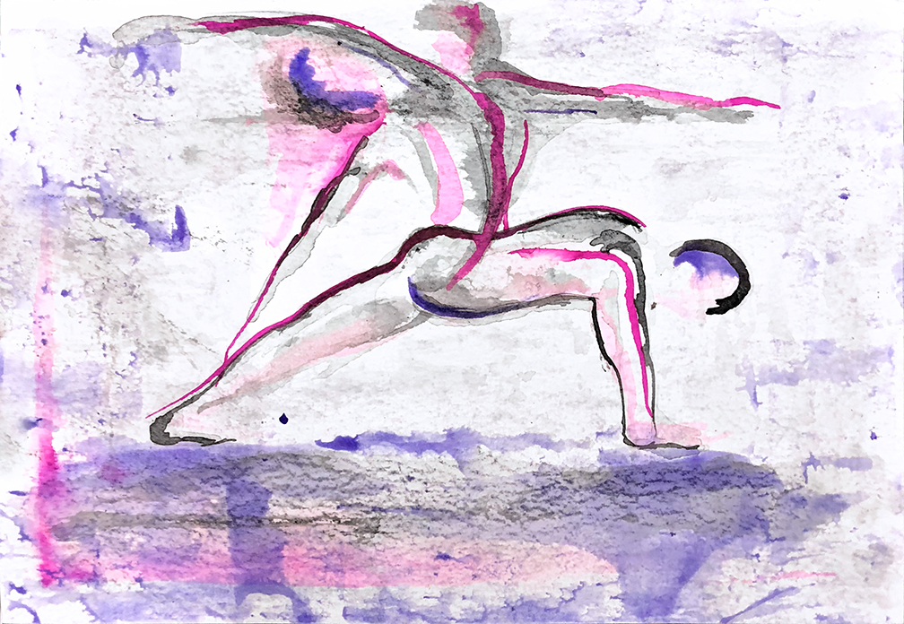 Watercolor on paper, painted with palette knives, yoga pose warrior 2 or virabhadrasana and reverse warrior or viparita virabhadrasana.