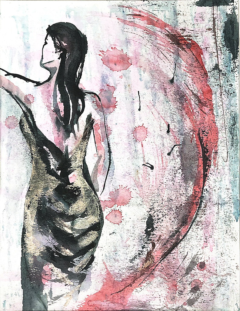 Watercolor on paper, painted with palette knives, female figure in a black dress.
