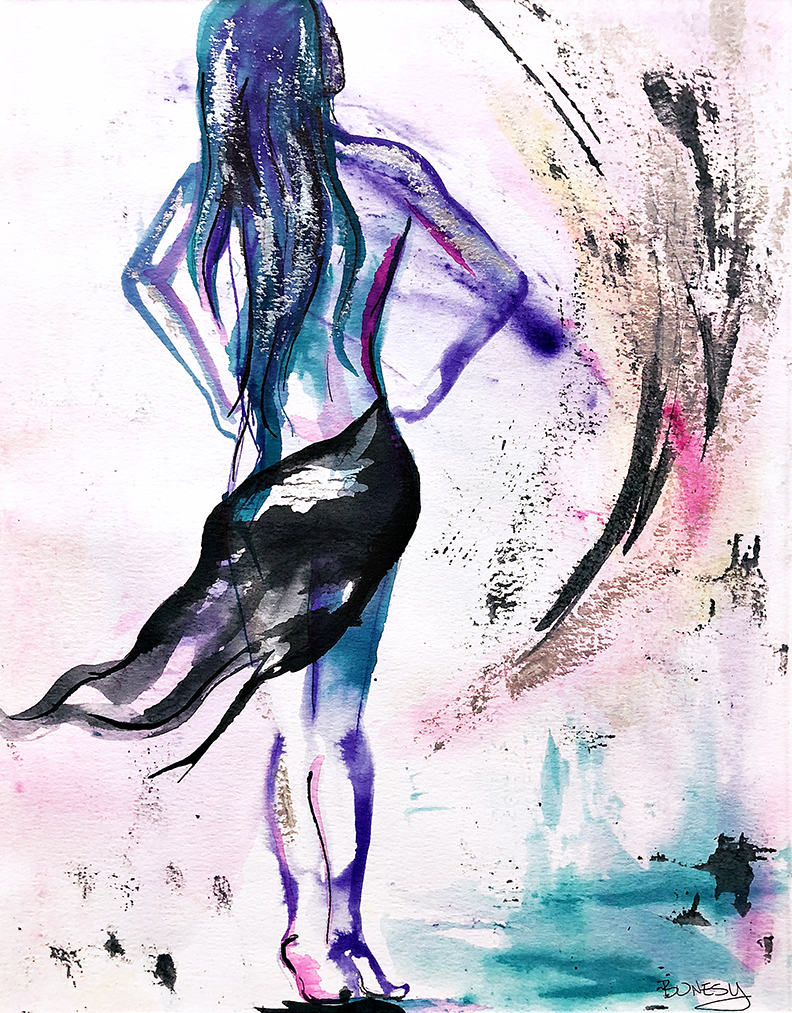 Watercolor on paper, painted with palette knives, female figure gesture painting.