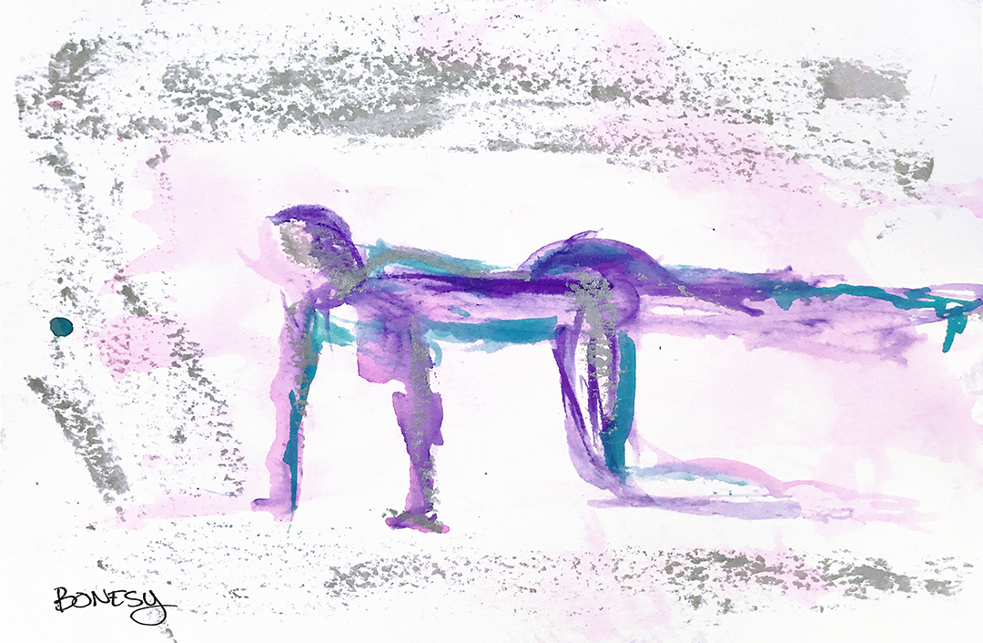 Watercolor on paper, painted with palette knives, yoga pose stretching.