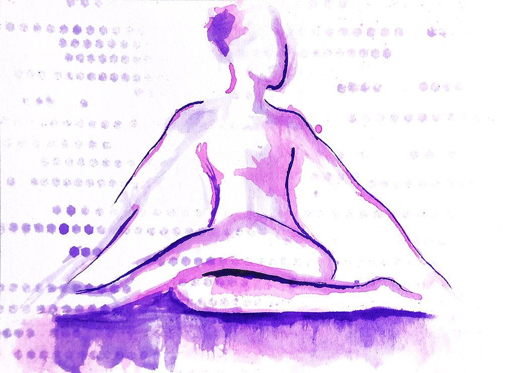 Watercolor on paper, painted with palette knives, yoga pose gomukhasana.