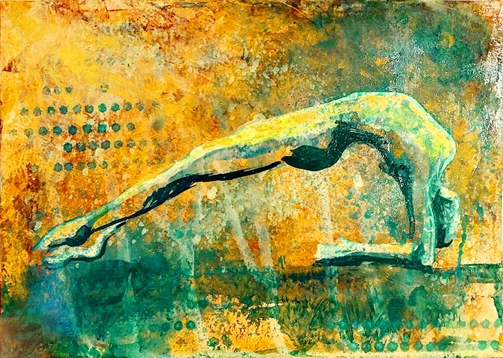 Watercolor on paper, painted with palette knives, yoga pose anjaneyasana.