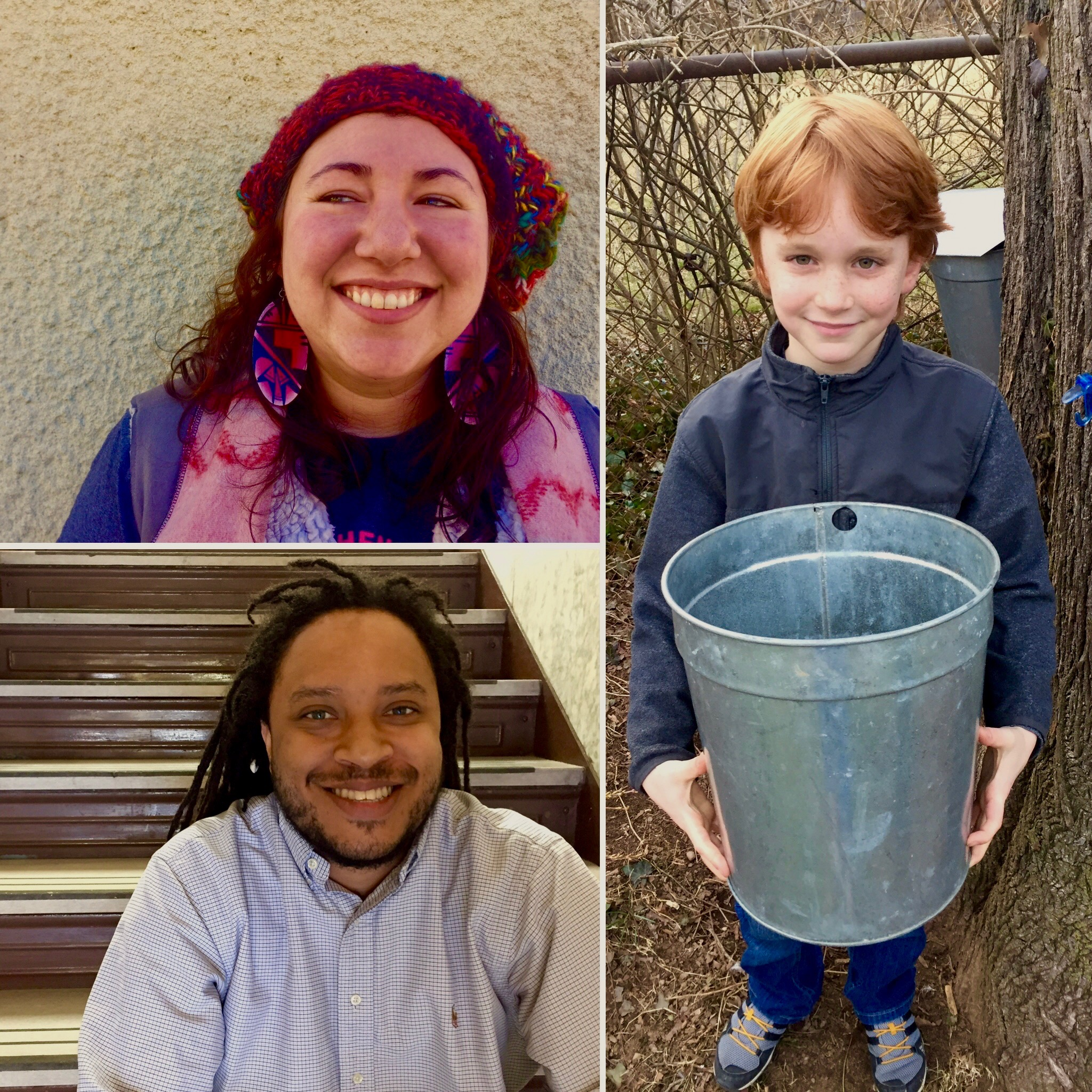 From top right: Rachel Sayet, Mohegan food educator, Sam Ridky collecting sap in his city yard, Marshall Cruz budding food entrepreneur.