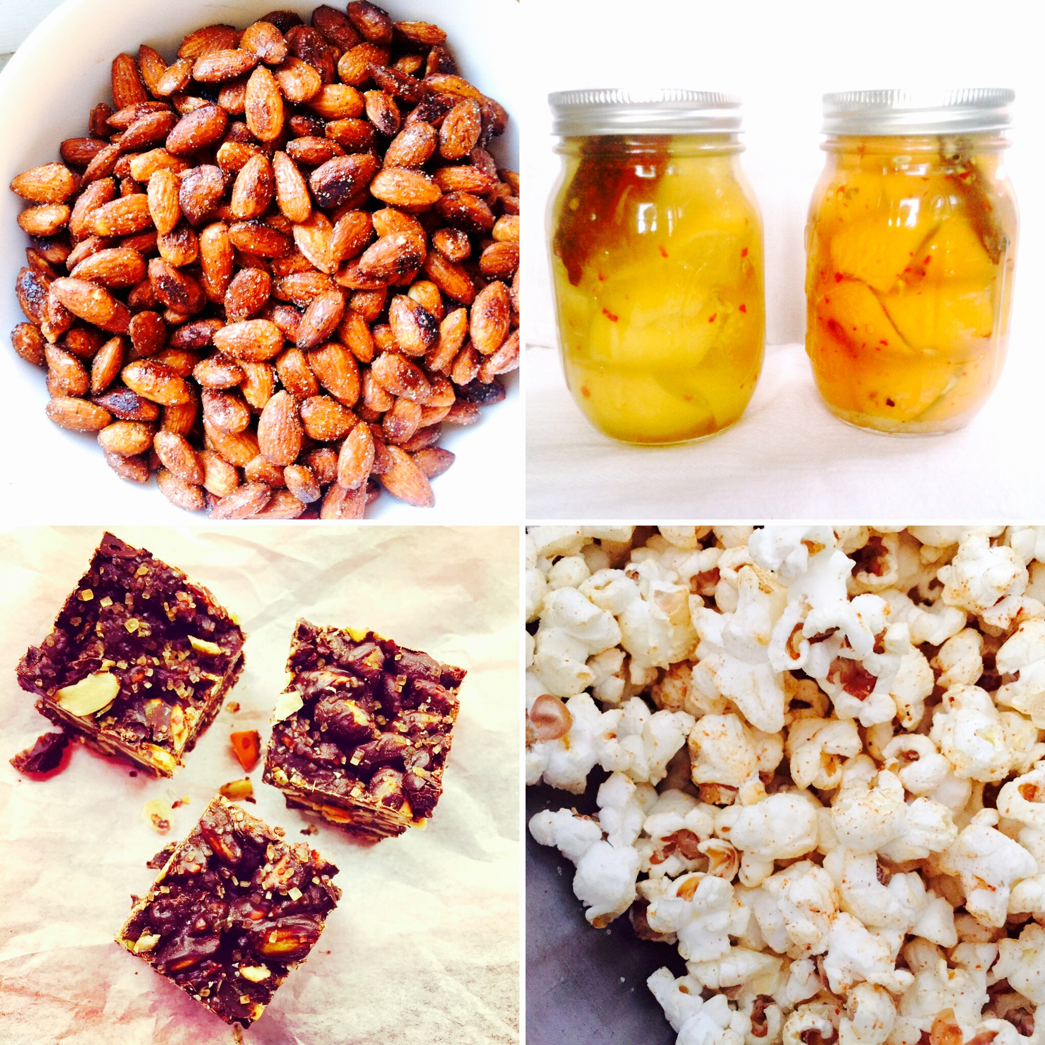 Clockwise from top left: Spiced Almonds, Preserved Lemons, Sambar Curry Popcorn, Chocolate Clusters with Tart Cherries, Ginger and Pumpkin seeds.