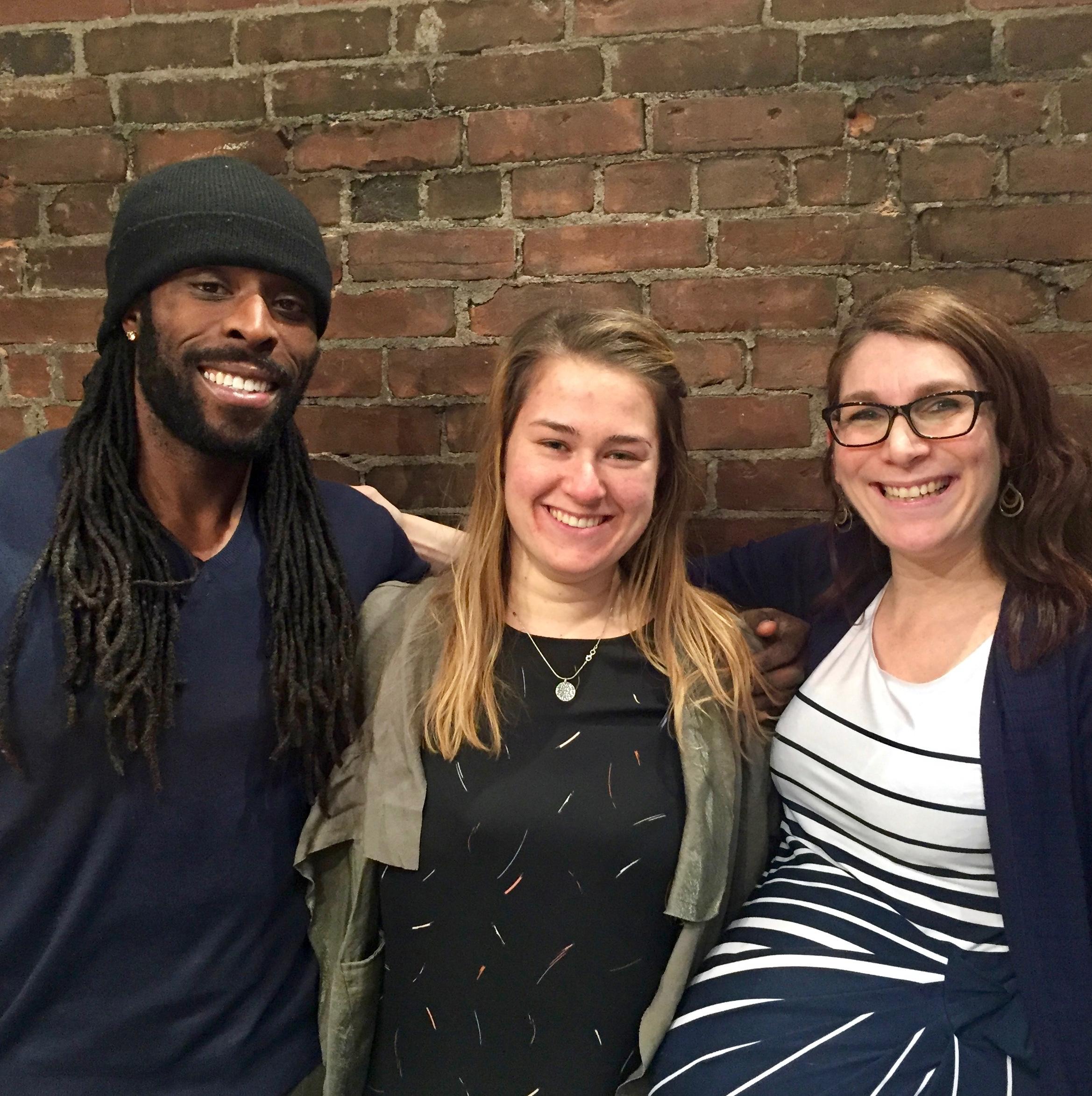 Teachers Tai Olasanoye and Rebecca Harmon with Dr. Jessica Powell