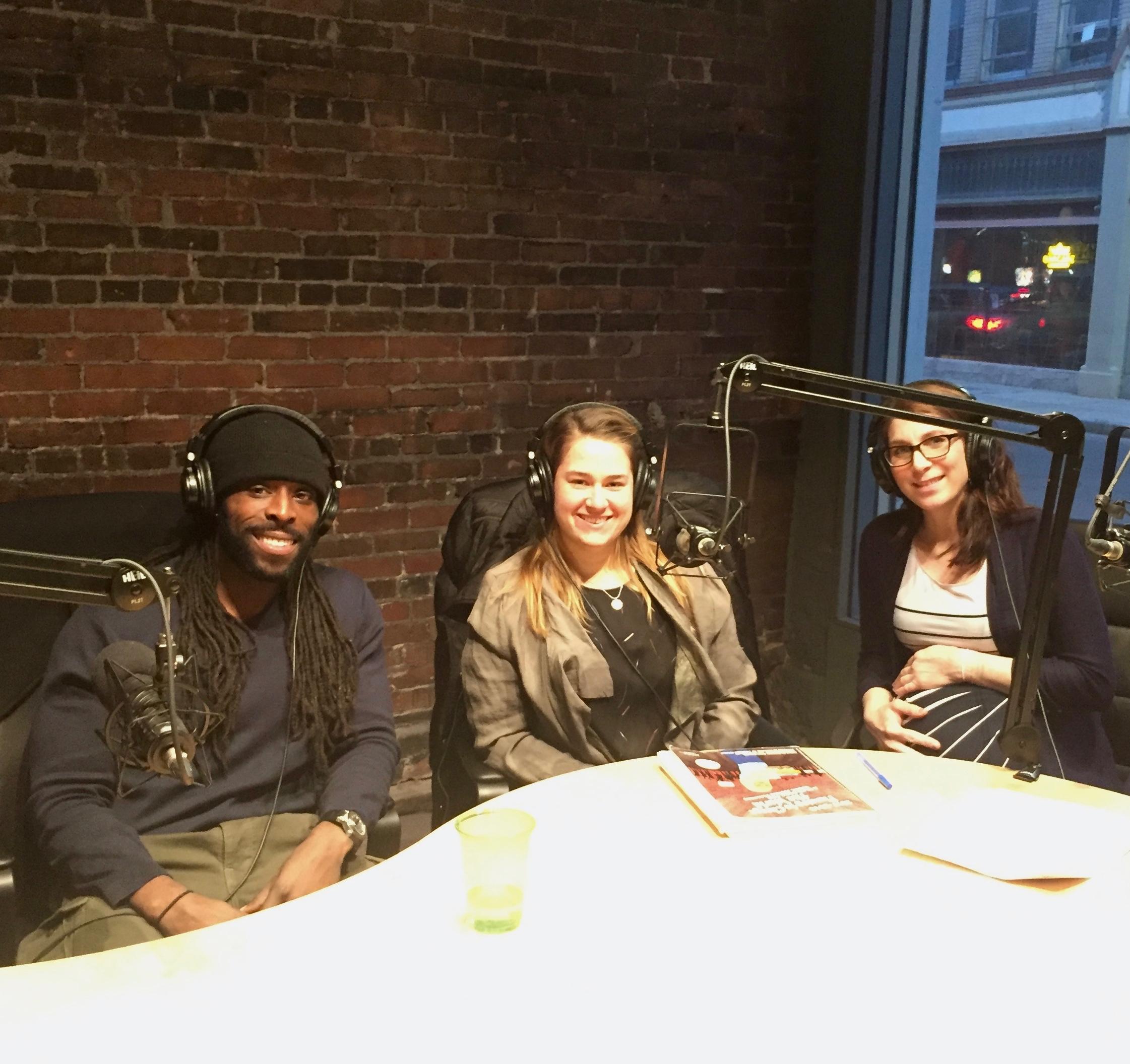 Tai Olasanoye, Rebecca Harmon, and Dr. Jessica Powell recording at Baobob Tree Studio in New Haven