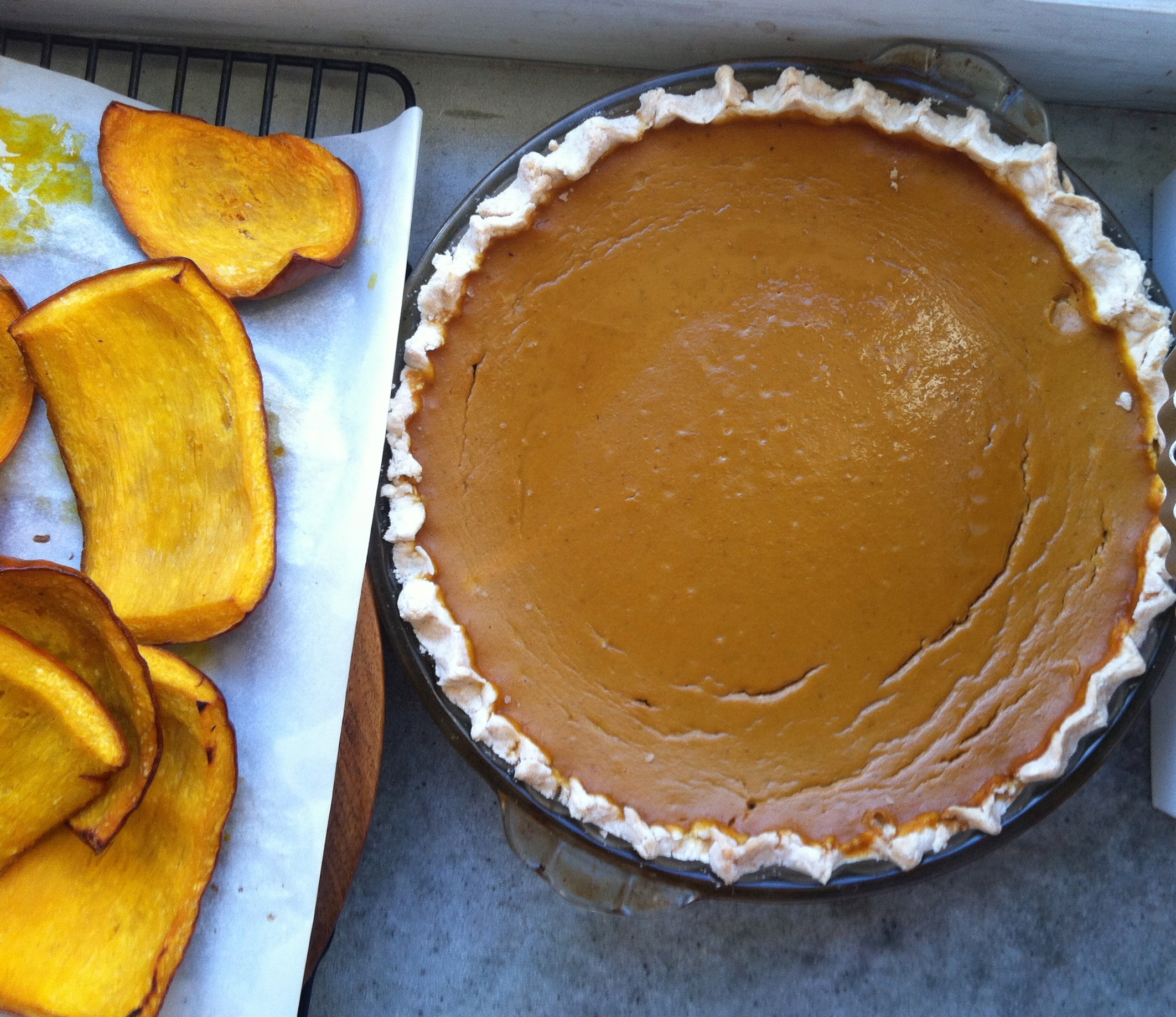 Fresh roasted pumpkin pieces, and my sister's pumpkin pie made with gluten free crust (yes, I will try and get her recipe to share, and no, sadly, I don't have it yet….)