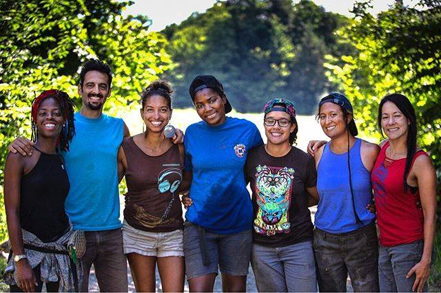 The 2018 Soul Fire Farm Crew. From left: Amani Olugbala, Jonah Vitale-Wolff, Leah Penniman, Olive Watkins, Lytisha Wyatt, Damaris Miller, and Larisa Jacobson.