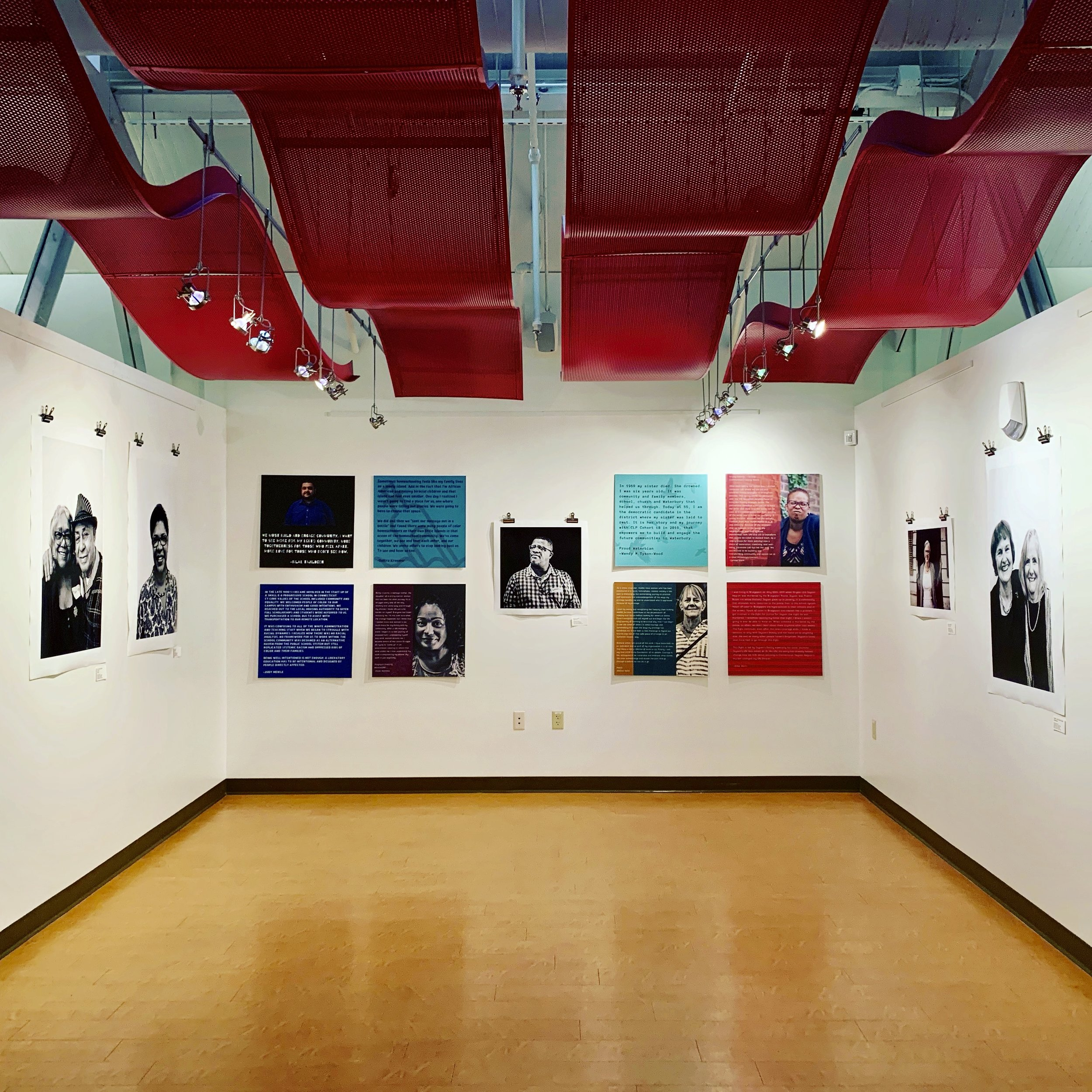 One corner of the STORYSCAPE exhibit up at ConnCAT in New Haven, CT Dec 13, 2018 - Jan 25, 2019. Commissioned by the William Caspar Graustein Memorial Fund, STORYSCAPE is a multi-media show exploring stories of education, race, justice and community from across Connecticut.
