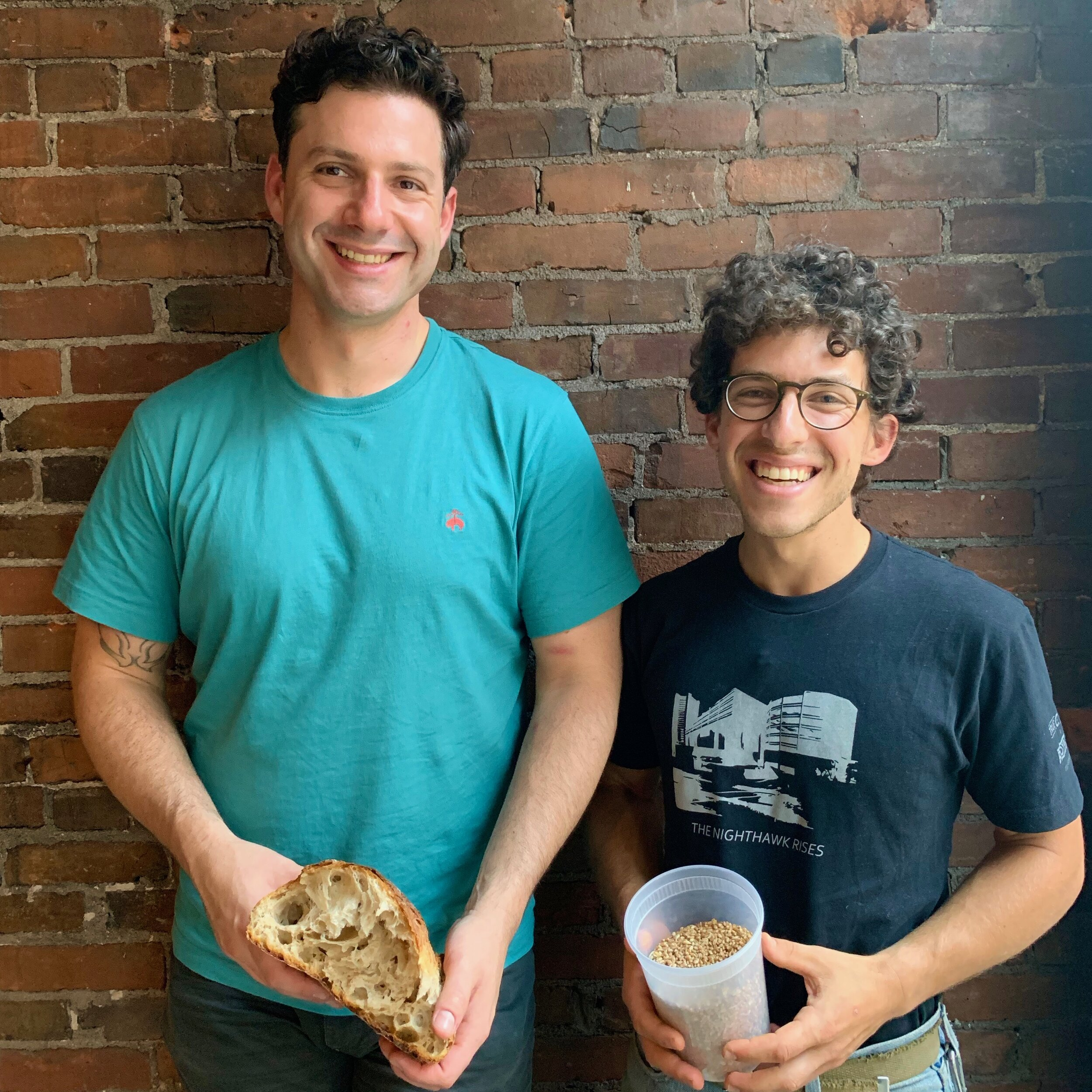 "Charlie Negaro Jr, manager of Atticus Bakery & Bookstore and Josh Kanter self proclaimed ""dough boy"" Head Bread Baker for Atticus Bakery."