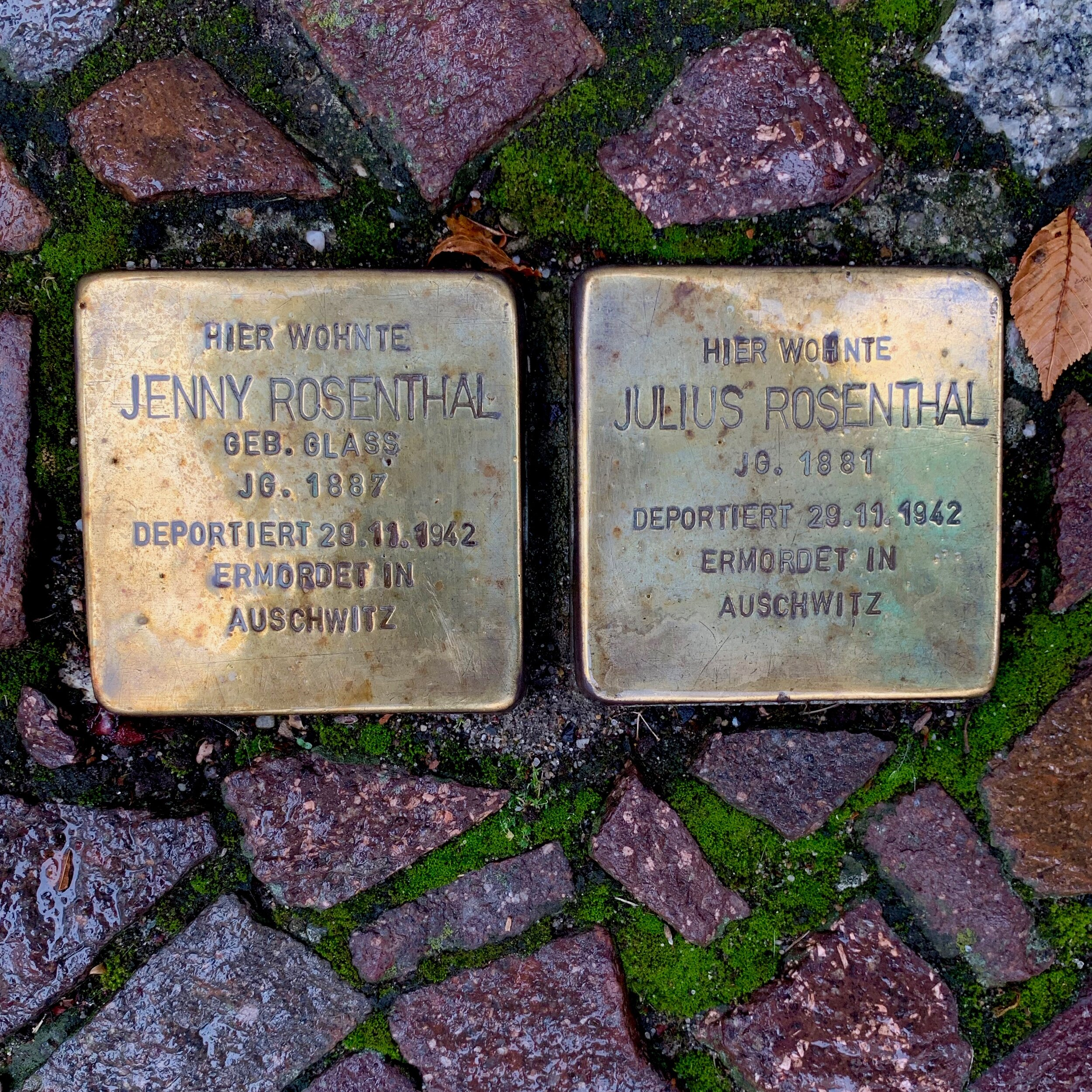 """On the streets of Berlin. """"Stumble Stones"""" mark the places some Jews lived or worked before they were killed by Nazi's during World War II."""