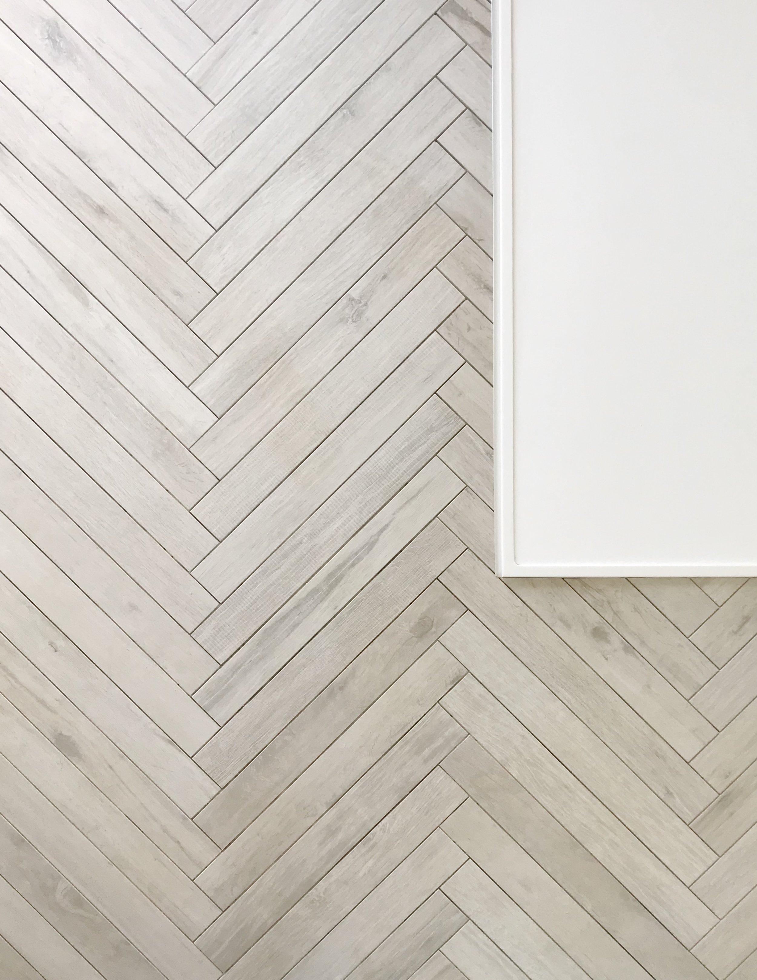 Tile featured: Wood of Cerim waterjet to create herringbone