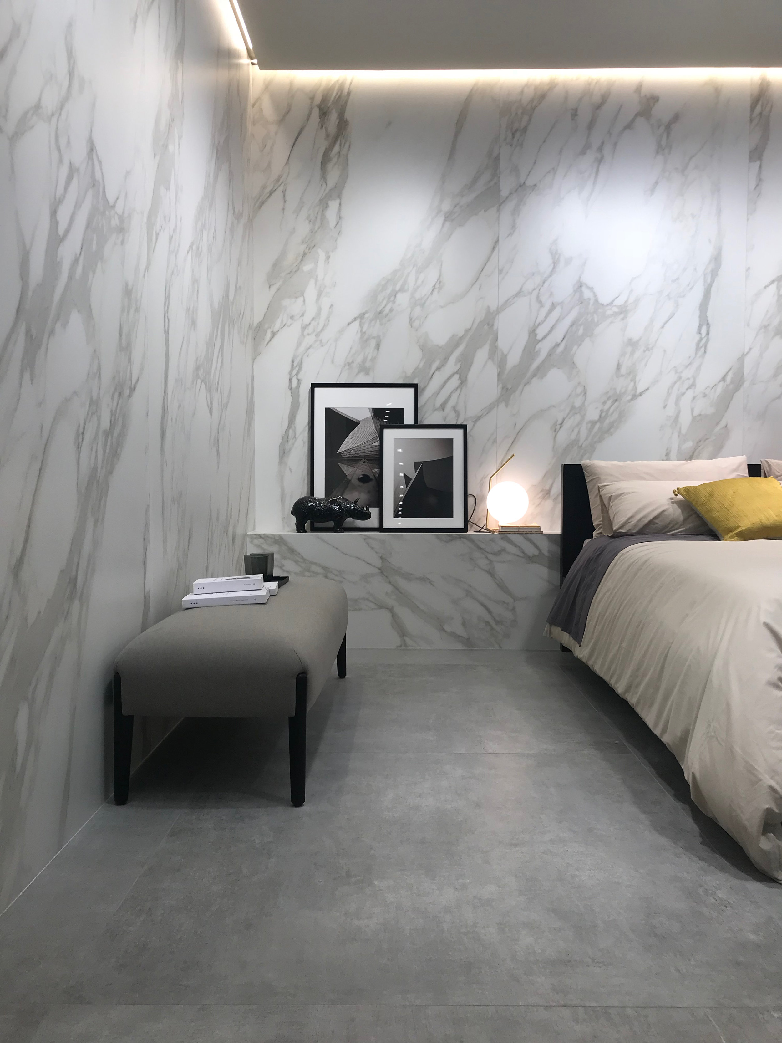 Feature walls can be used in all area of the home. NB: Image is taken from Cersaie 2018