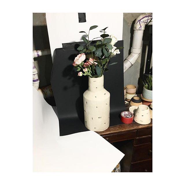 Basement studio in the works... #thisisntworking #smallspaces #studio #cityliving #ceramics #vase #artist #handbuiltpottery #pottery