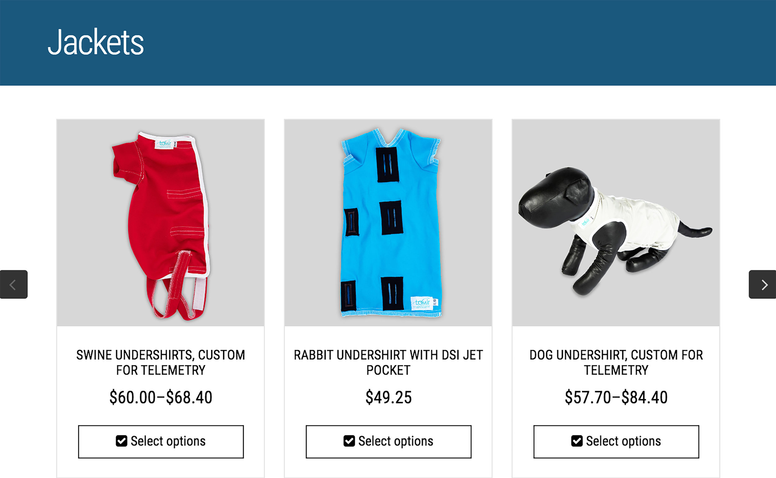 Jacket-rouge-bleu-Lomir-Biomédical-chien-cochon-rat-lapin