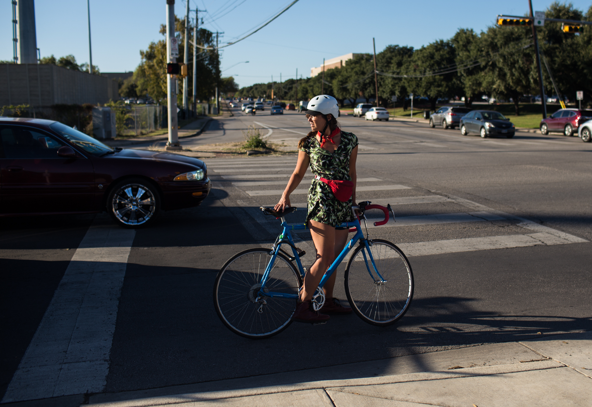 Amanda has had to move further and further from the center of the city due to rising rent prices, but that commuting by car or bus from where she lives in University Hills is incredibly inefficient, so she bikes around 20 miles a day to work. North Austin, November 26, 2016.