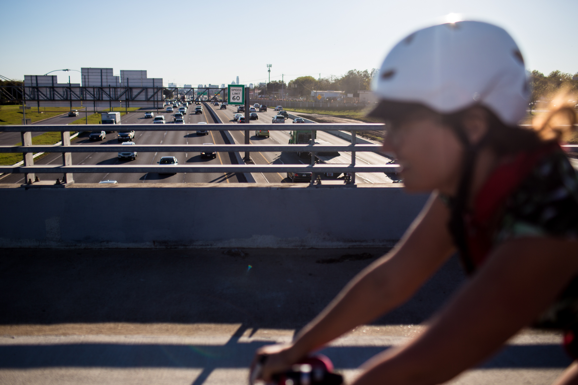 Amanda said parts of her commute can get rather scary, and that drivers who don't give her enough space and debris on the road have put her in some dangerous situations crossing the bridge over I-35. North Austin, November 16, 2016.