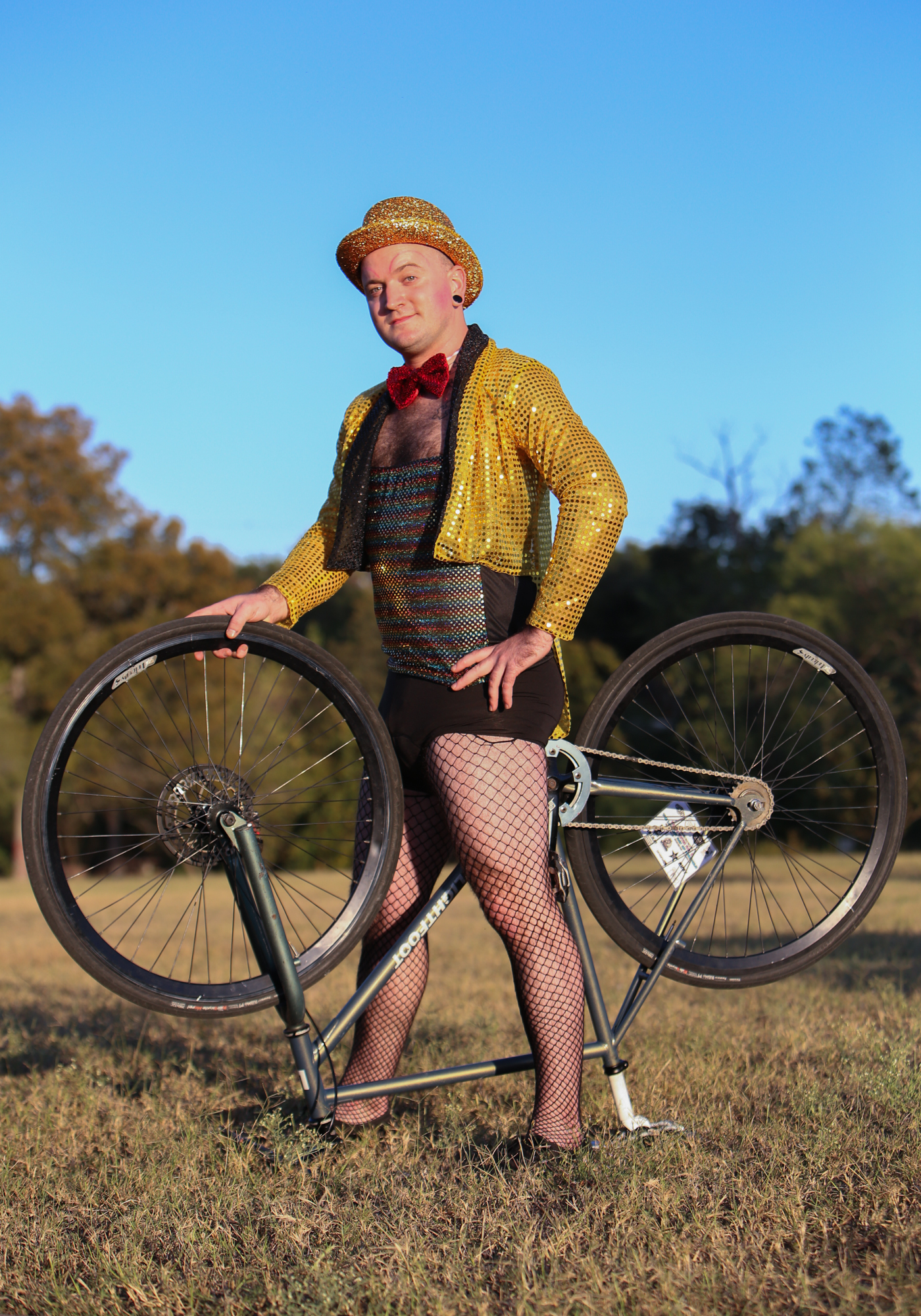 Johnny Stovall has been a member of the Austin Bike Polo Social Club for several years. He participated in the 2016 Halloween tournament dressed as Columbia from Rocky Horror Picture Show. He said as a driver, he wasn't aware of the three-foot rule that is supposed to be maintained between cars and cyclists, and that he didn't learn about it until he started bike commuting. Bartholomew District Park, October 29, 2016.