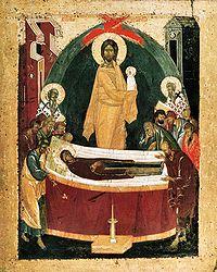 Russische icoon van het Ontslapen van de Moeder Gods door Feofan de Griek (ca. 1340 - ca. 1410)