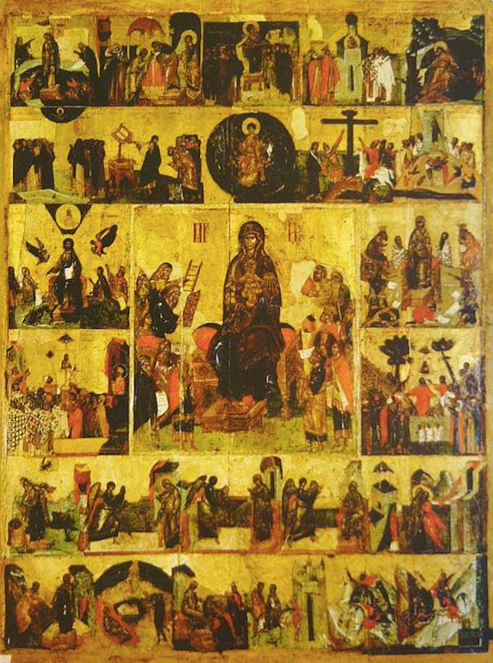 Icoon van de Akathist voor de Moeder Gods - Icoon van Dionysios