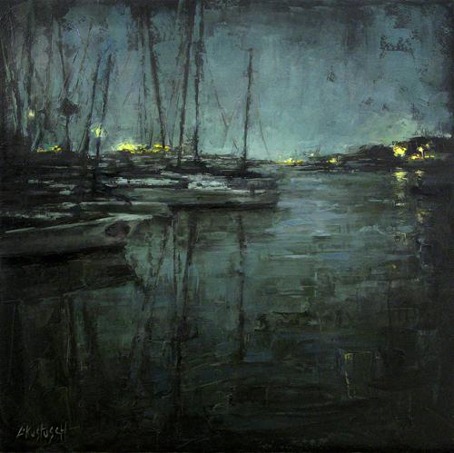 Marina Boats at Night