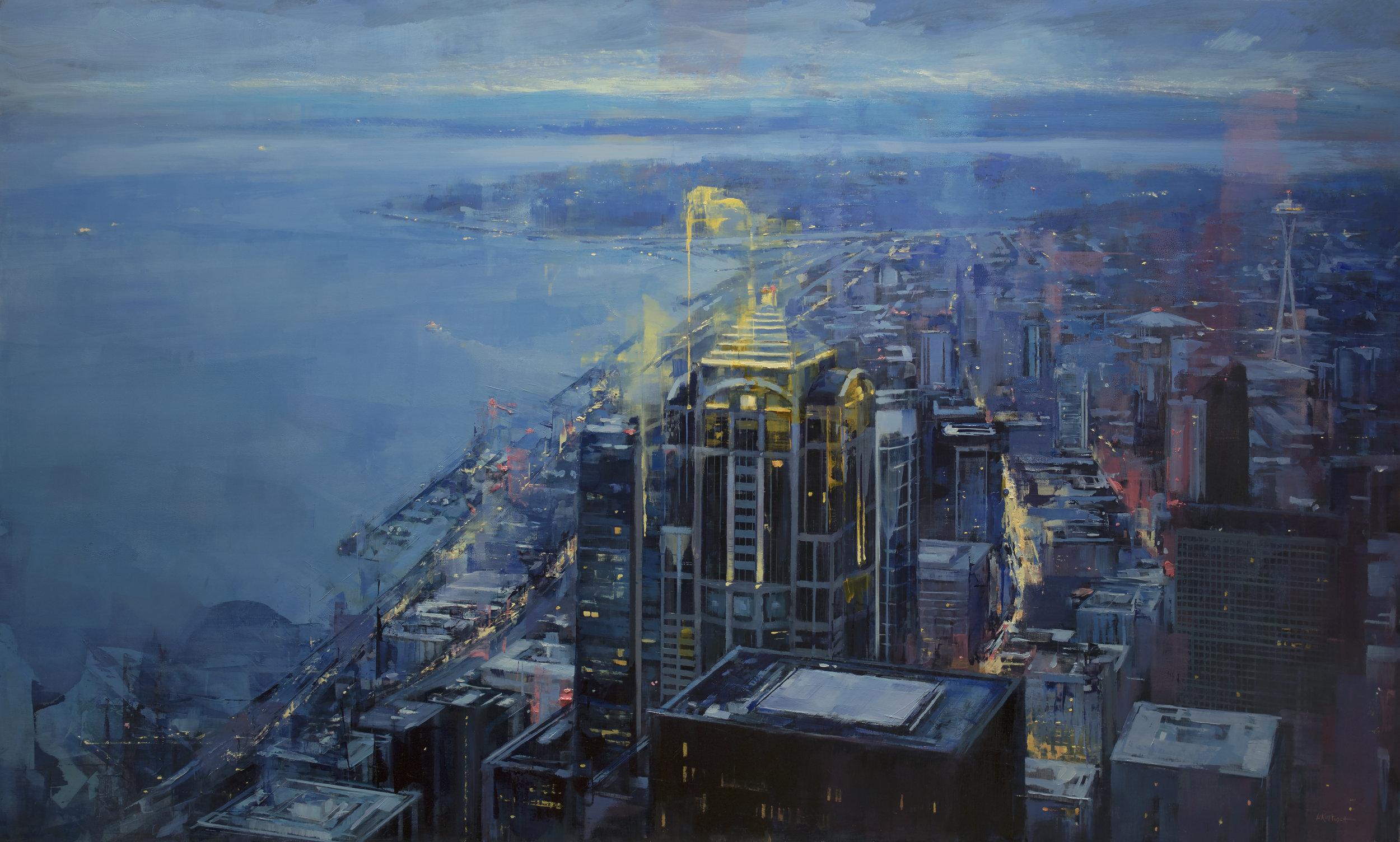 Lindsey Kustusch_%22Evening in The Emerald City%22_28x48_oil on panel_$6,700.jpg