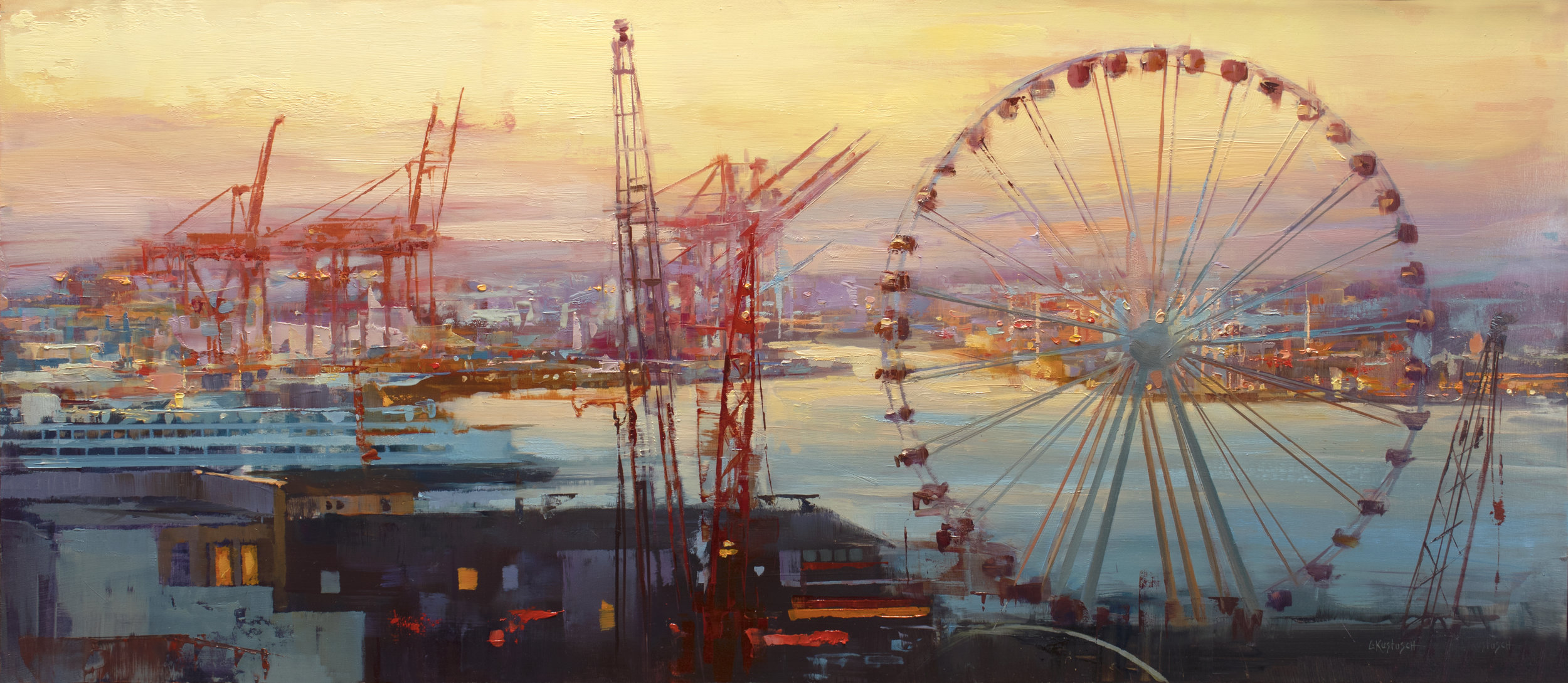 Lindsey Kustusch_%22Pike's Place at Dawn%22_14x32_oil on panel_$4,100.jpg