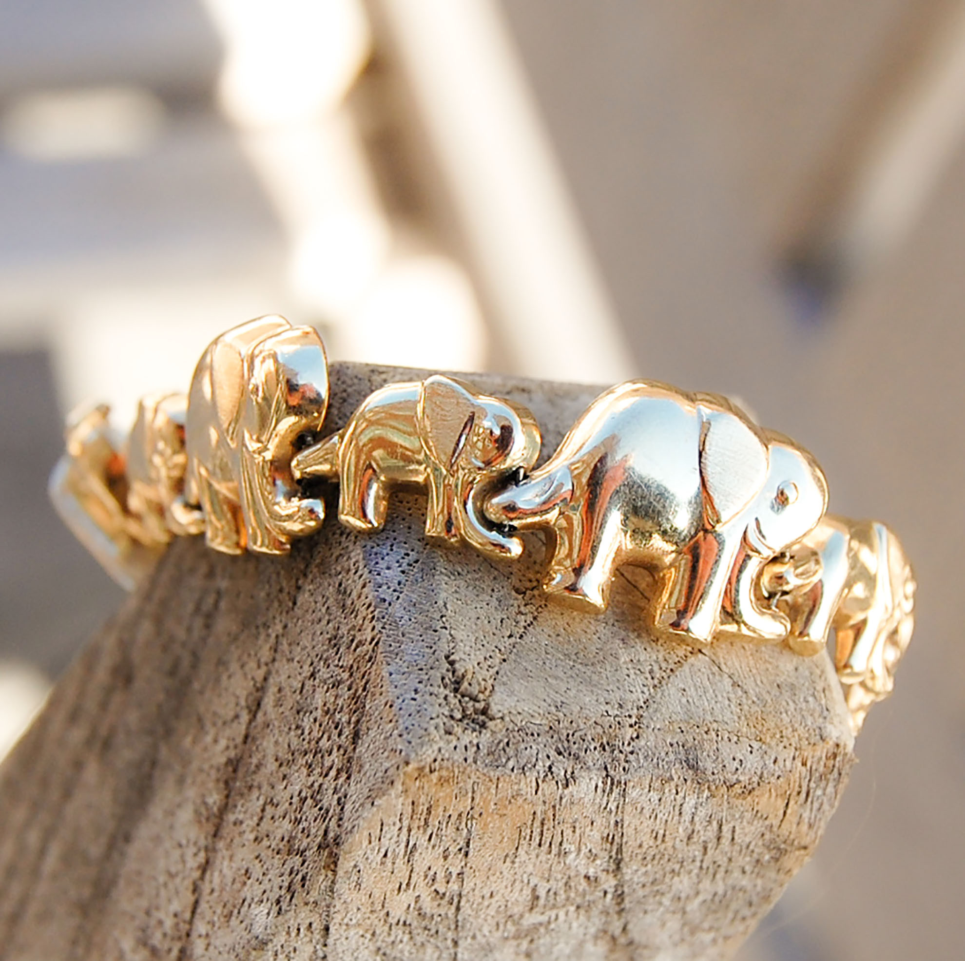 Gold Mother And Baby Elephant Bracelet