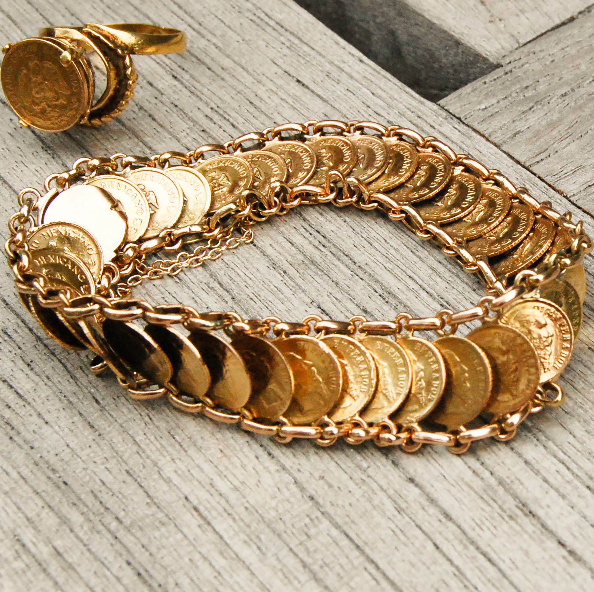Dos Pesos 24k Gold Coin Bracelet