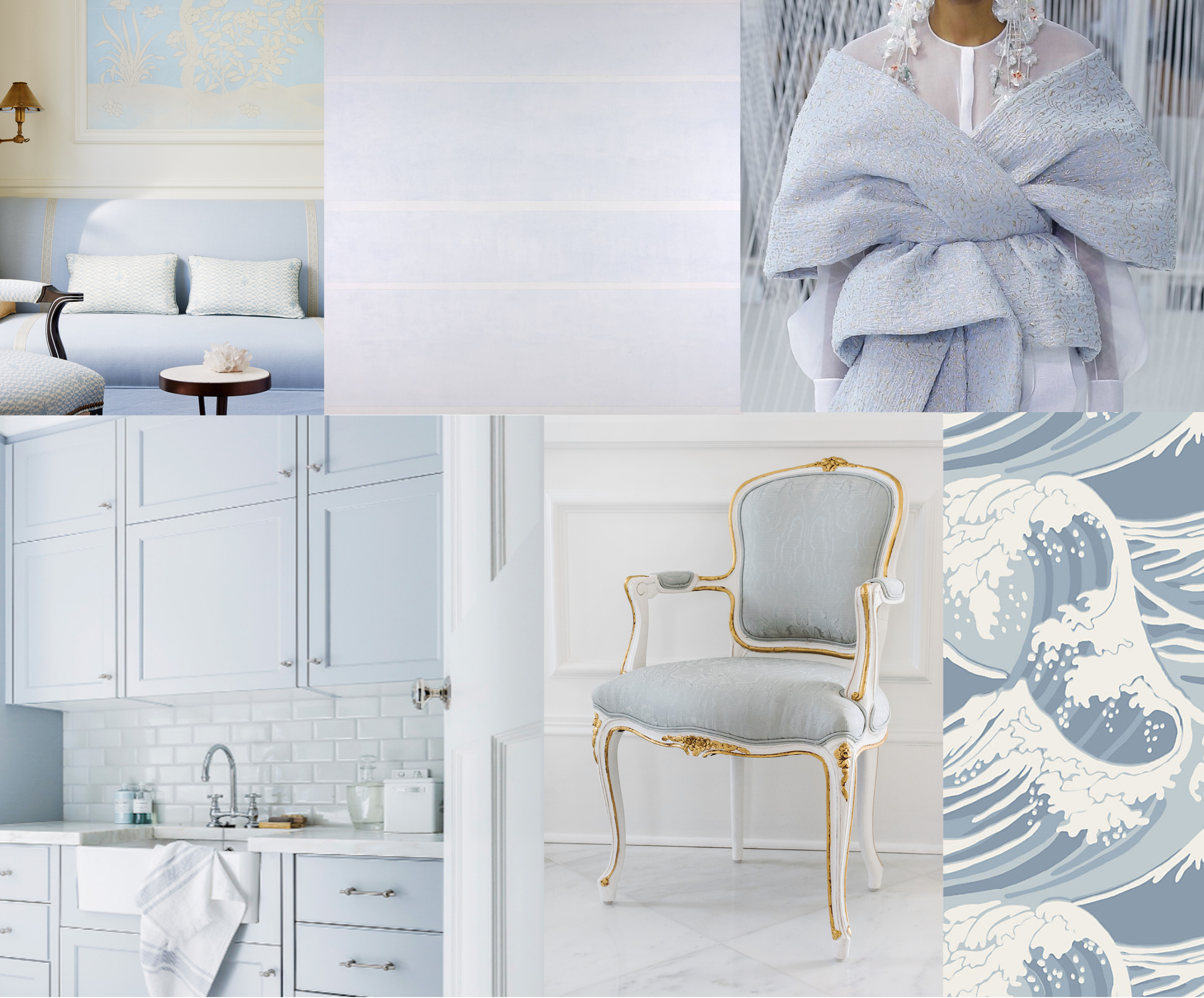 Clockwise from left:  Mark D. Sikes  Pacific Palisades Home,  'Faraway Love'  by Agnes Martin at the Tate Museum in London,  Delpozo Spring 2017 Collection ,  Cole & Son Great Wave Wallpaper , Ave Home  Regent Side Chair ,  Coco Republic  Interior Design North Shore Residence