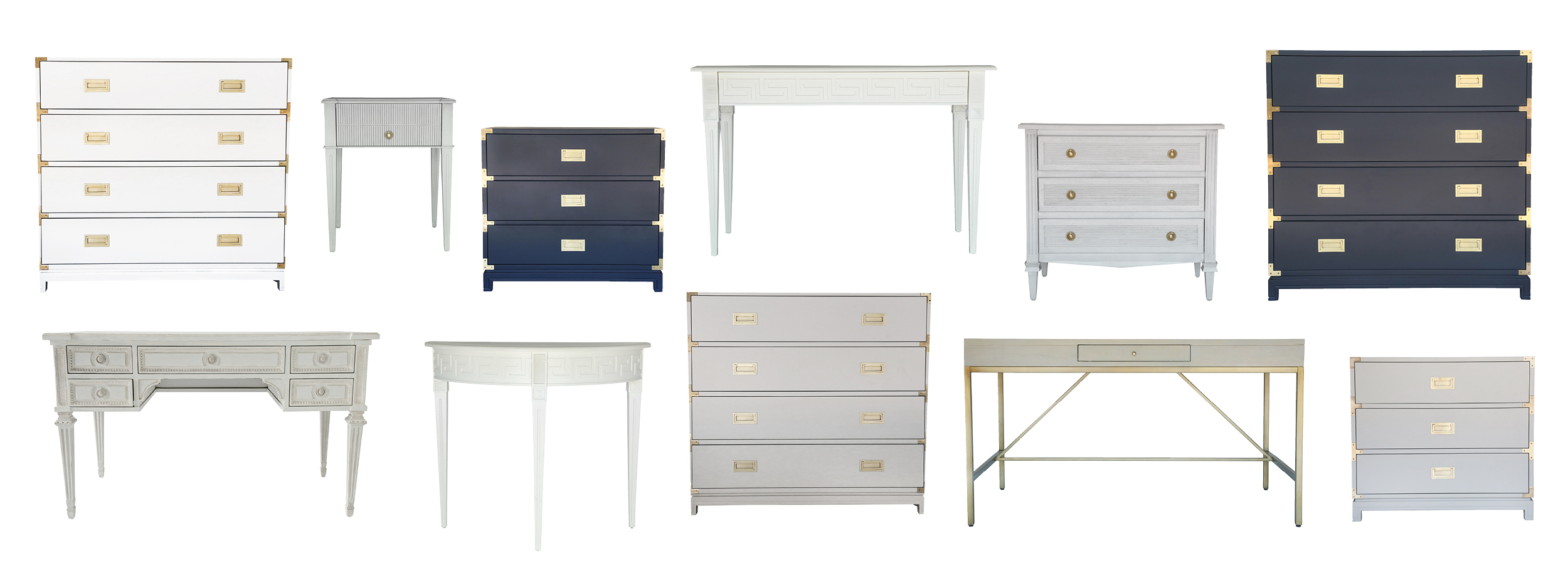Top Row:   1.  Large Carlyle Campaign Dresser, White   2.  Liam End Table   3.  Small Carlyle Campaign Dresser, Navy   4.  Athena Console   5.  Liam Dresser   6.  Large Carlyle Campaign Dresser, Navy     Bottom Row:   1.  Aria Desk, Swedish Grey   2.  Athena Demilune   3.  Large Carlyle Campaign Dresser, Grey   4.  Carlyle Desk, Grey   5.  Small Carlyle Campaign Dresser, Grey
