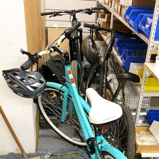 Hope everyone enjoyed the brisk spring mornings during Bike to Work Week! 🚴🏻‍♀️🚴🏽‍♂️ In the new building we'll have more room to store our bikes! 😁 . . . #biketoworkweek #bikeweek #morningcommute #spring #bike