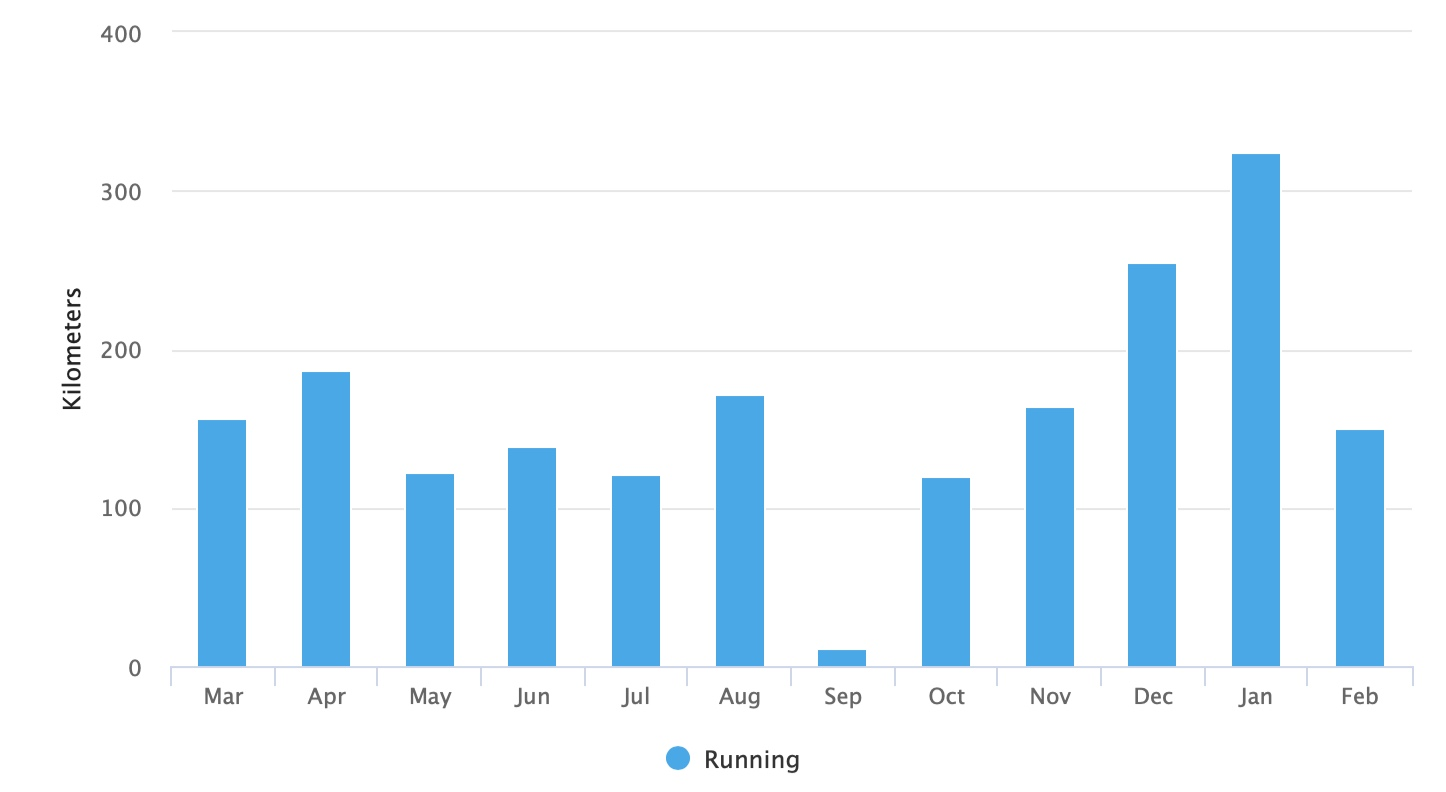 Running volume in the last 12 months before Seville Marathon 2019