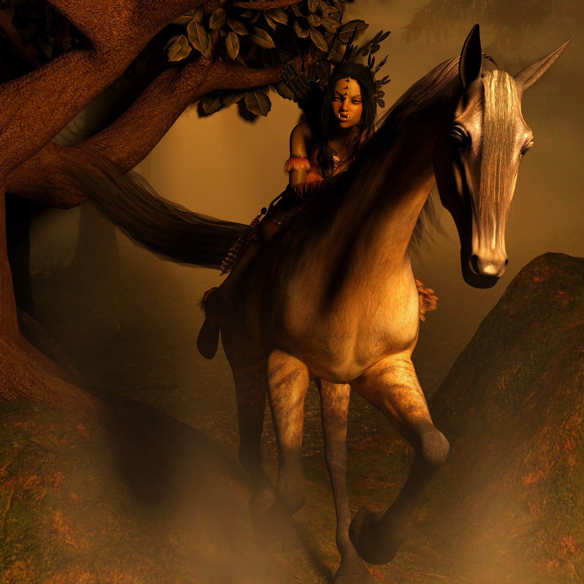 Then the girl saw herself on one of her father's stallions, pushing the animal to run so she could disappear.