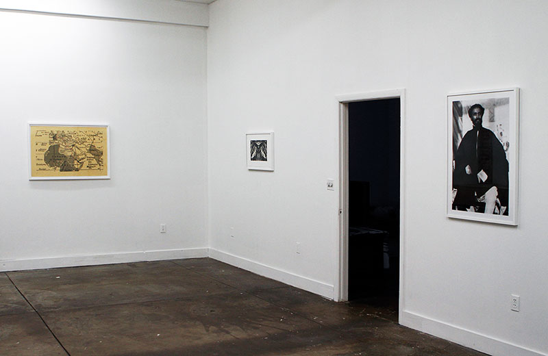 """From left to right: """" Walter Mittelholzer's route to Ethiopia ,"""" (digital print and ink)  Double Mountain , (photogravure) and  Haile Selassie 1934 (digital print )"""