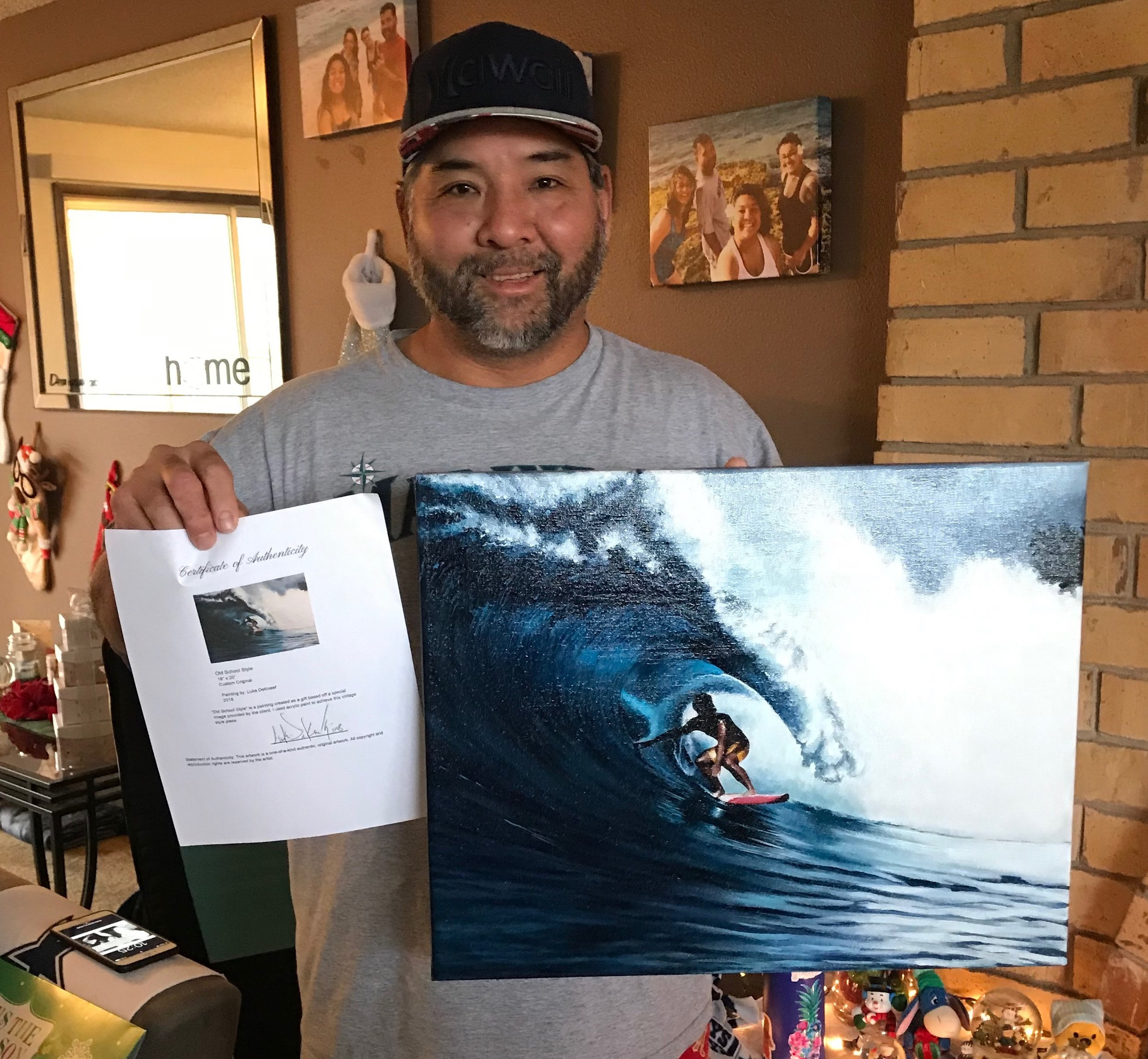 A commissioned piece created in December 2018 as a surprise Christmas gift from daughter Randi for her father. He had an old photo of his favorite surf session that was slowly beginning to fade. The artist recreated his old school photo and brought it back to life.