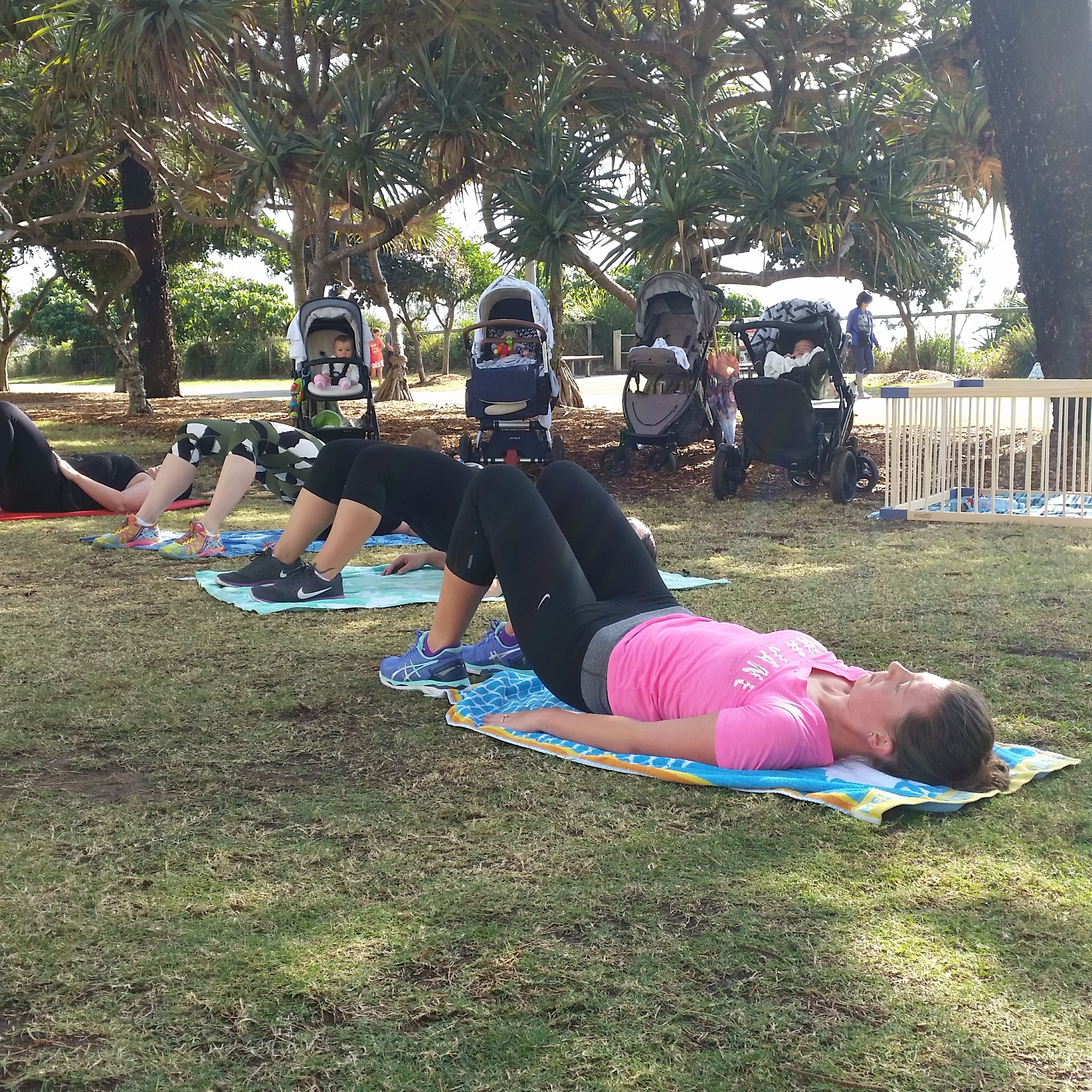 The Mummy Trainer group training in the park at Burleigh