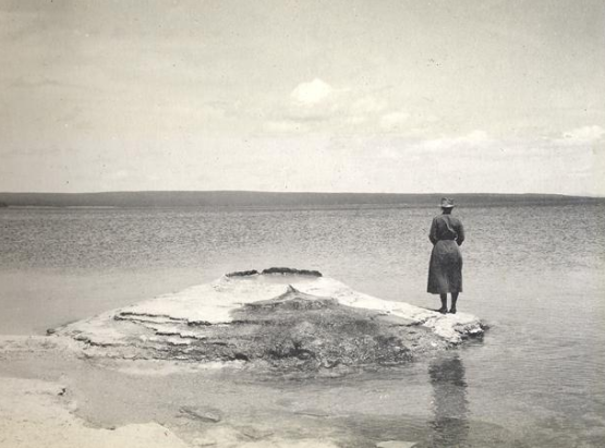 Florence Bascom at Yellowstone Lake, WY 1915.    Source:Sophia Smith Collection
